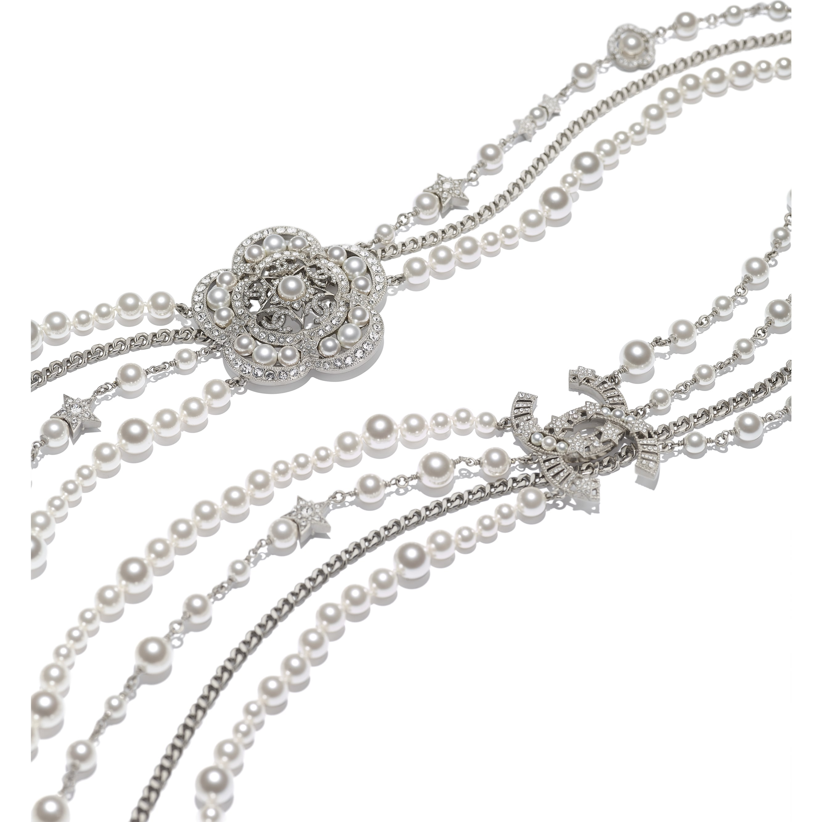 Long Necklace - Silver, Pearly White & Crystal - Metal, Glass Pearls & Strass - CHANEL - Alternative view - see standard sized version