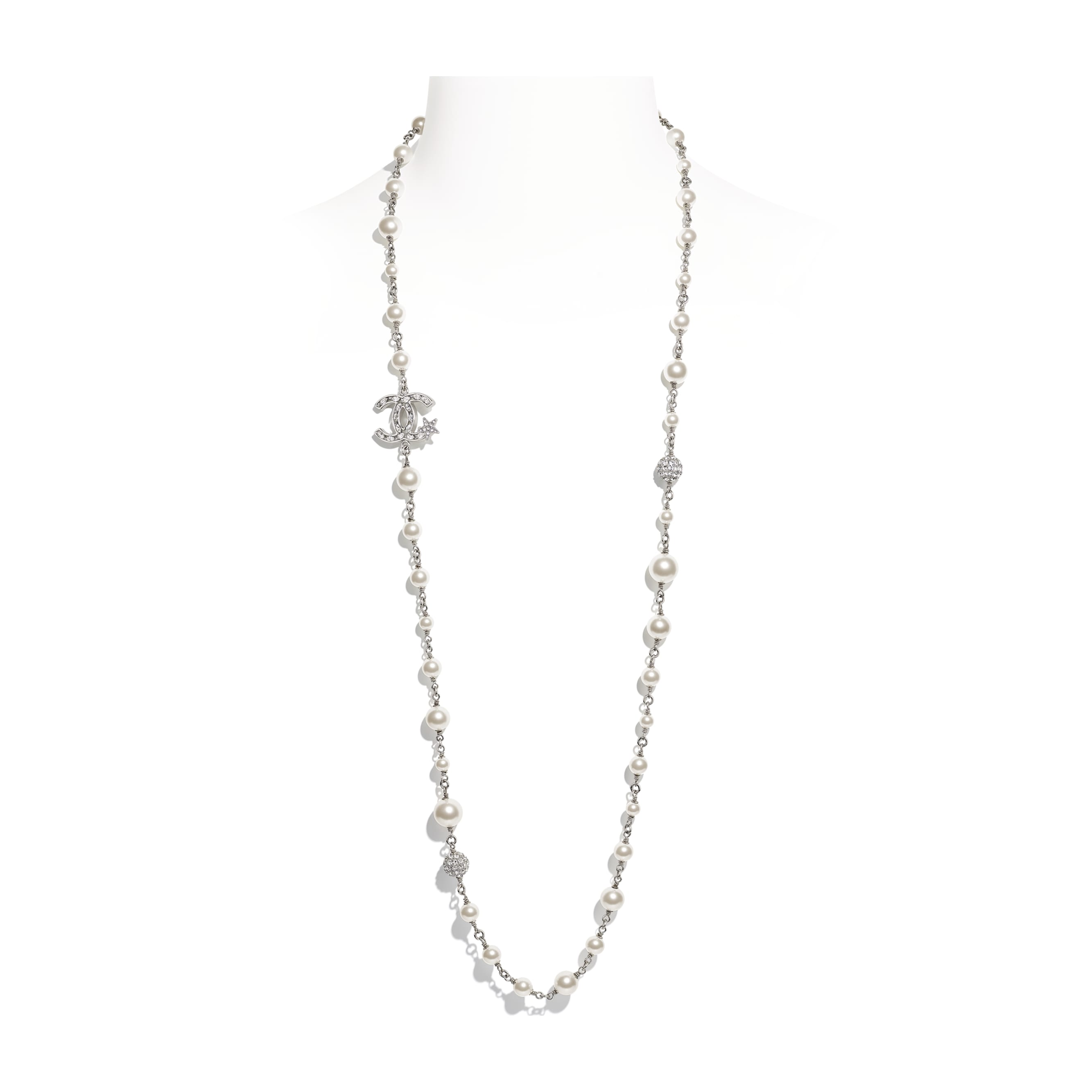 Long Necklace - Silver, Pearly White & Crystal - Metal, Glass Pearls & Diamantés - Default view - see standard sized version