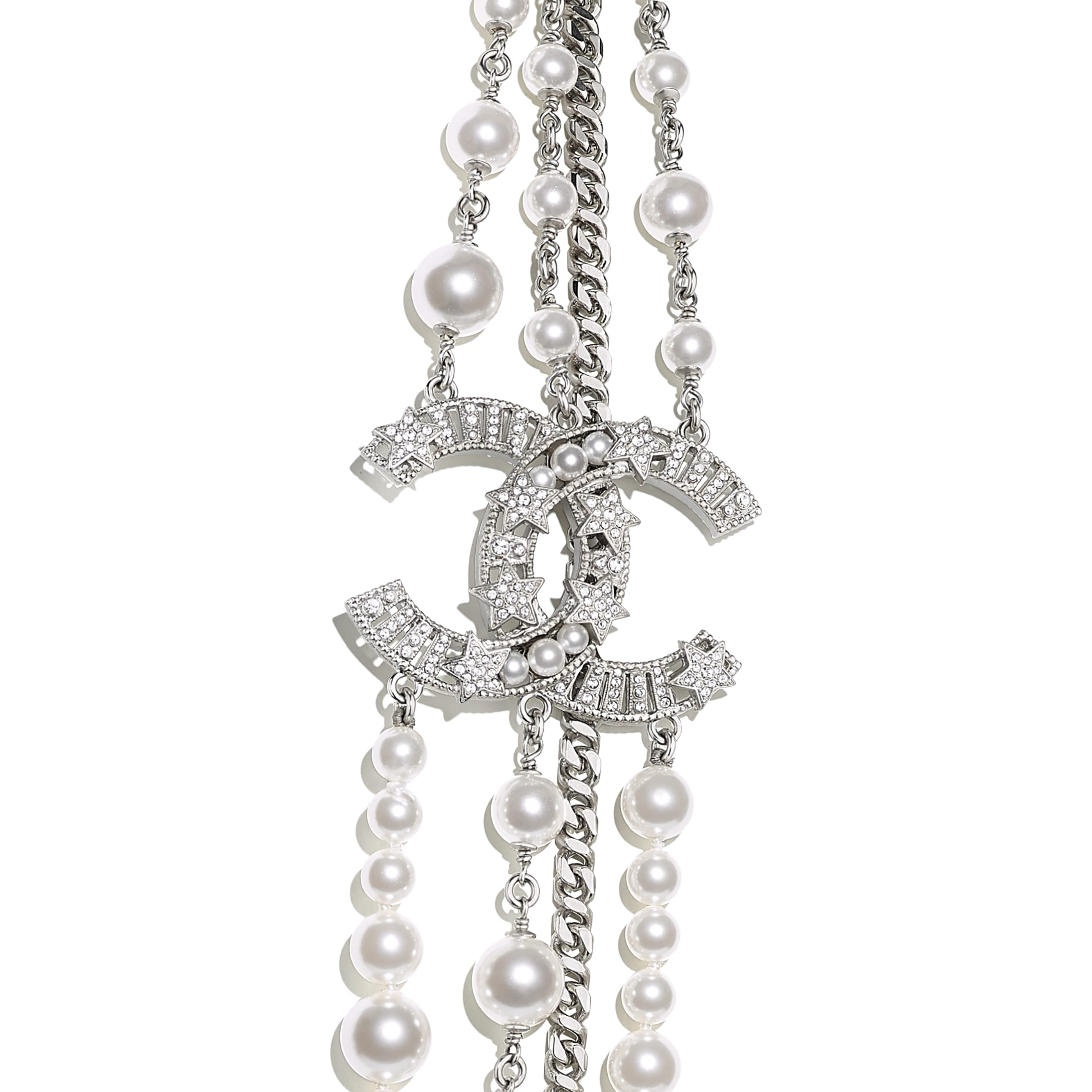 Long Necklace - Silver, Pearly White & Crystal - Metal, Glass Pearls & Strass - CHANEL - Other view - see standard sized version
