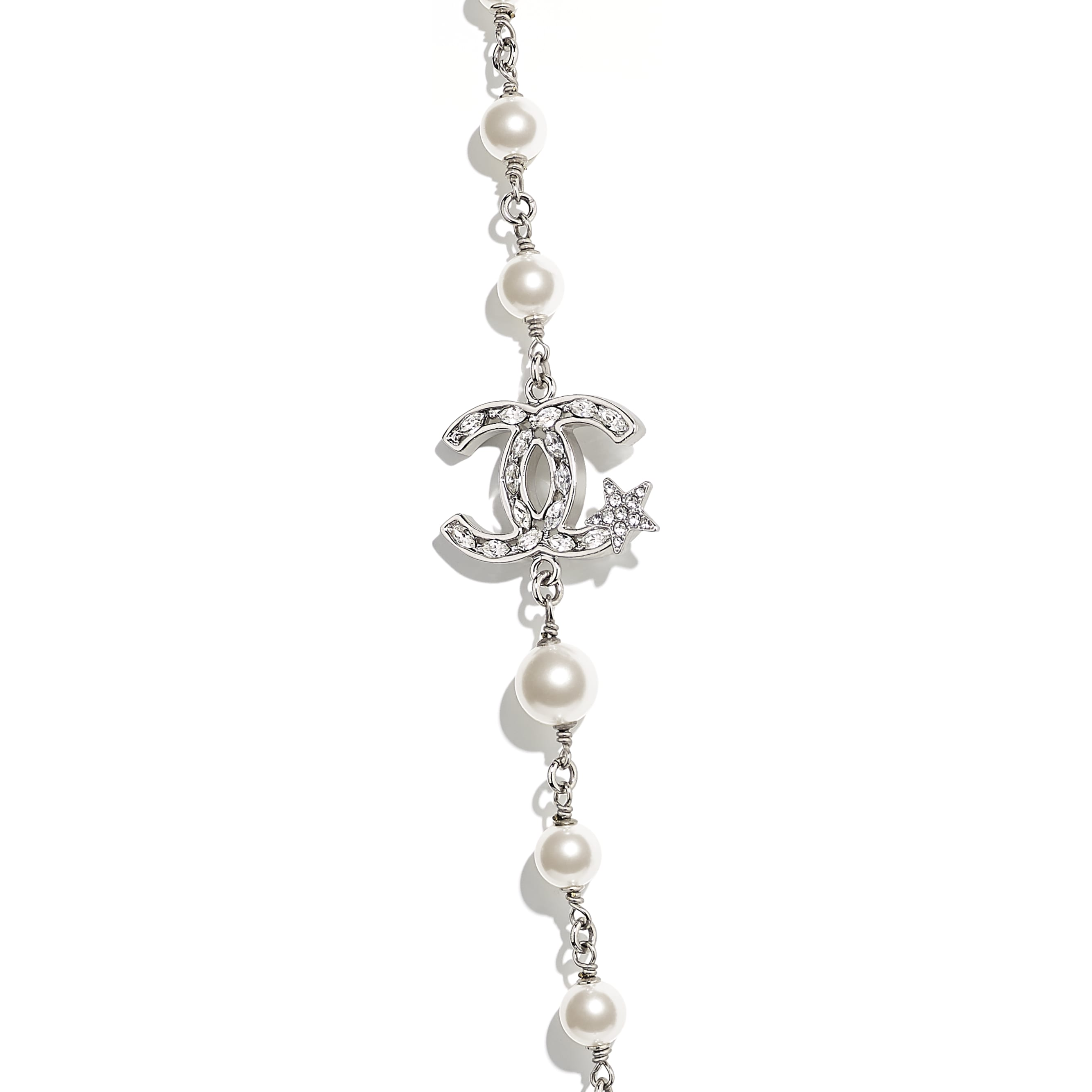 Long Necklace - Silver, Pearly White & Crystal - Metal, Glass Pearls & Diamantés - Other view - see standard sized version