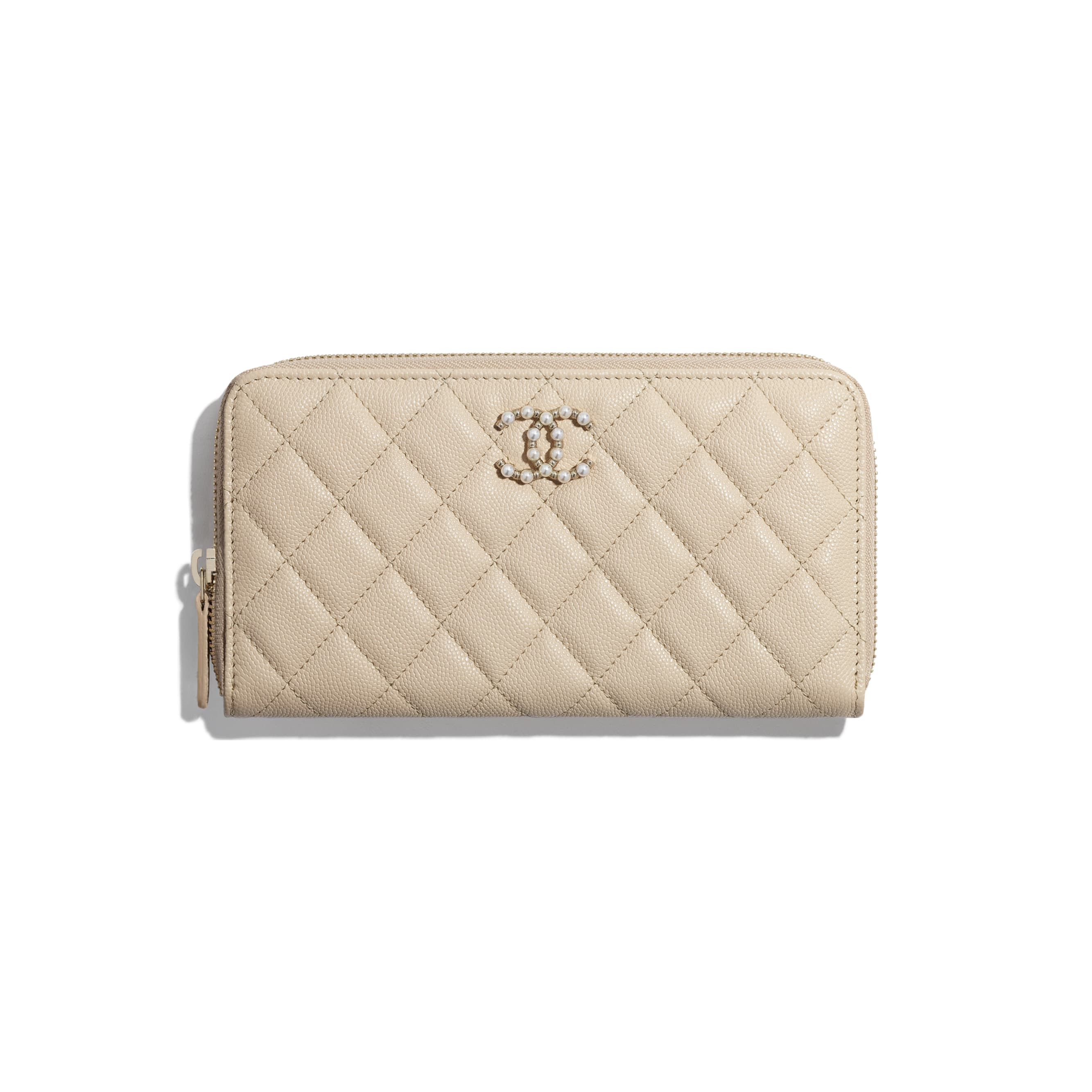 Long Zipped Wallet - Beige - Grained Calfskin & Gold-Tone Metal - CHANEL - Default view - see standard sized version