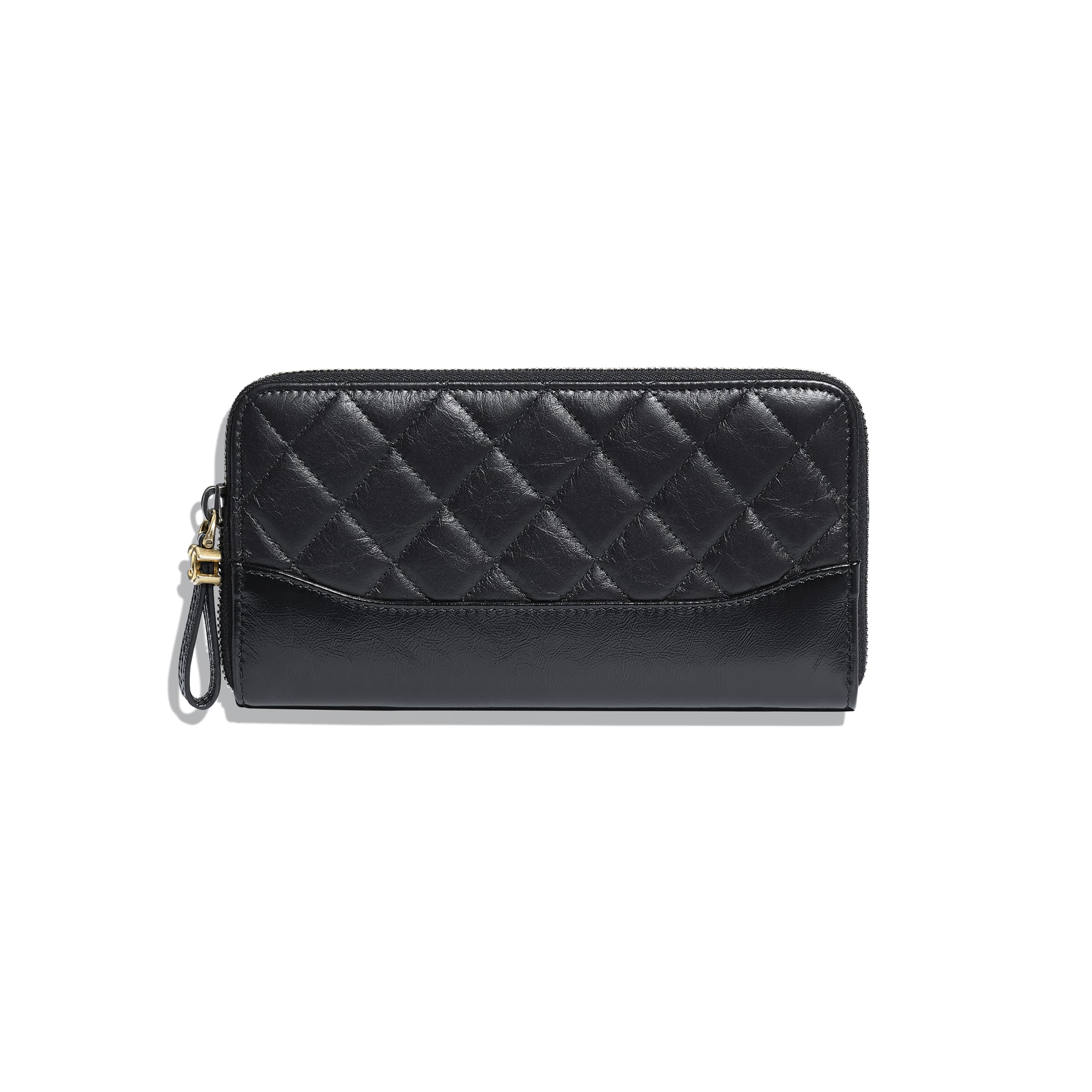Long Zipped Wallet - Black - Aged Calfskin, Smooth Calfskin, Gold-Tone, Silver-Tone & Ruthenium-Finish Metal - CHANEL - Default view - see standard sized version
