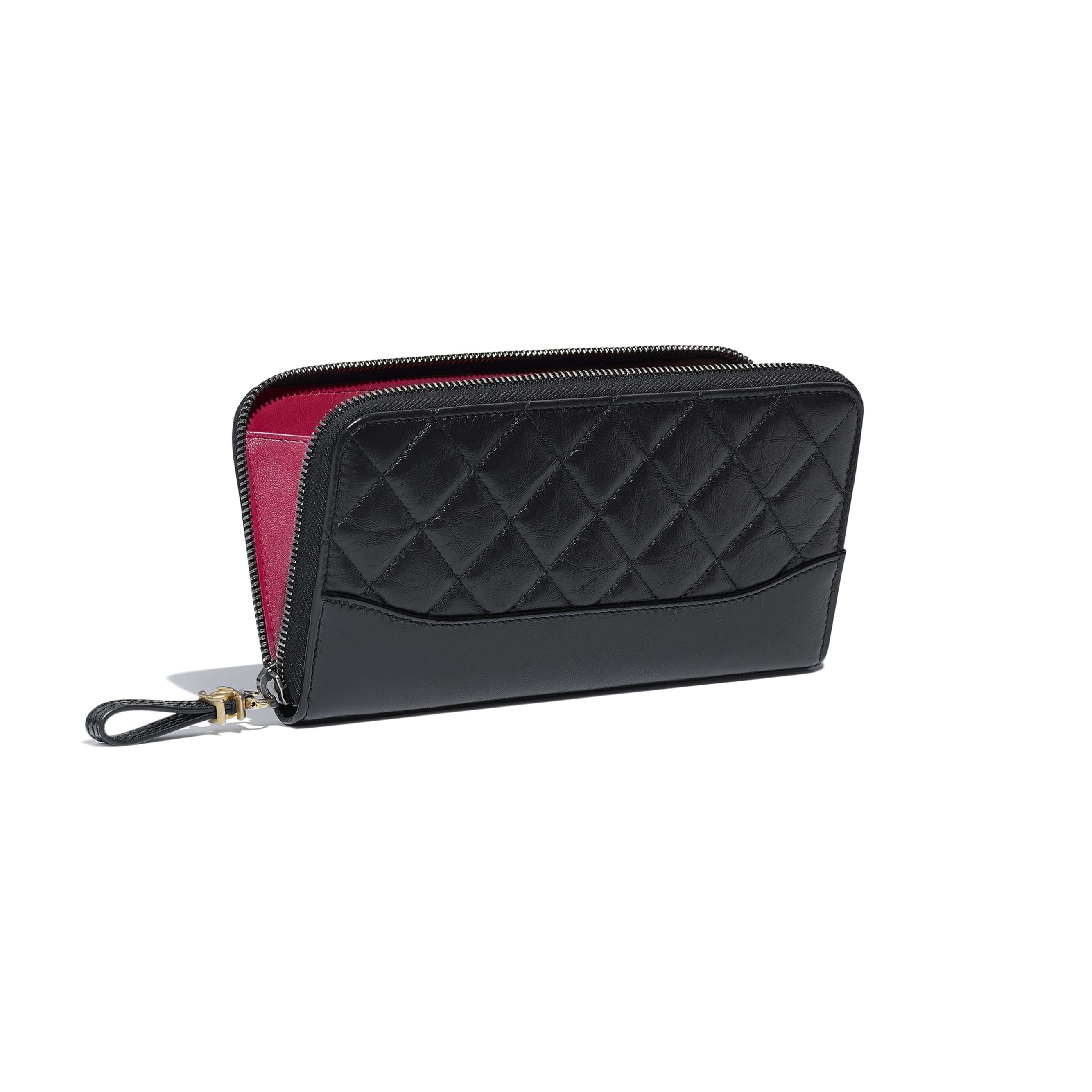 Long Zipped Wallet - Black - Aged Calfskin, Smooth Calfskin, Gold-Tone, Silver-Tone & Ruthenium-Finish Metal - CHANEL - Other view - see standard sized version