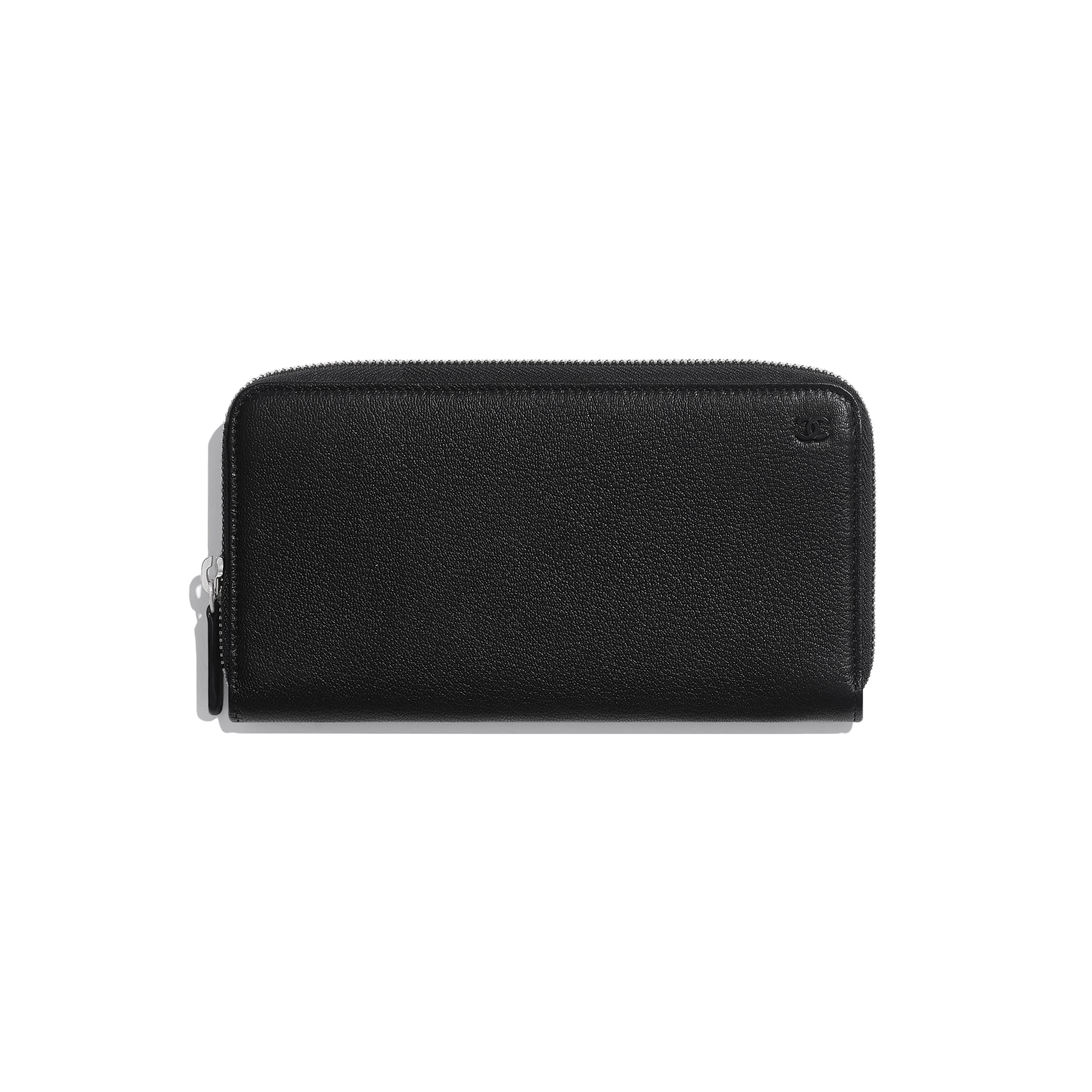 Long Zipped Wallet - Black - Goatskin & Lacquered Silver-Tone Metal - CHANEL - Default view - see standard sized version