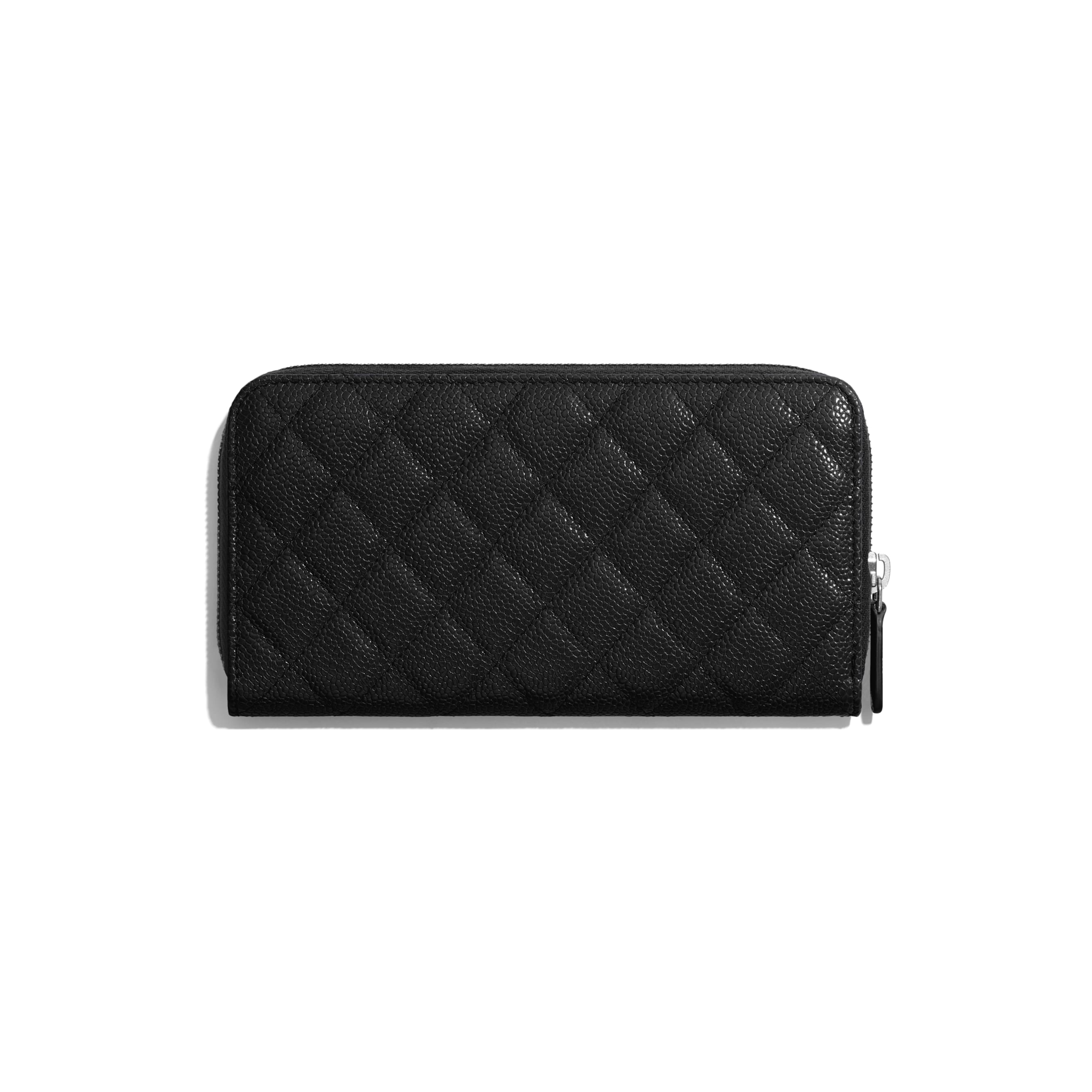 Long Zipped Wallet - Black - Grained Calfskin & Lacquered Metal - CHANEL - Alternative view - see standard sized version