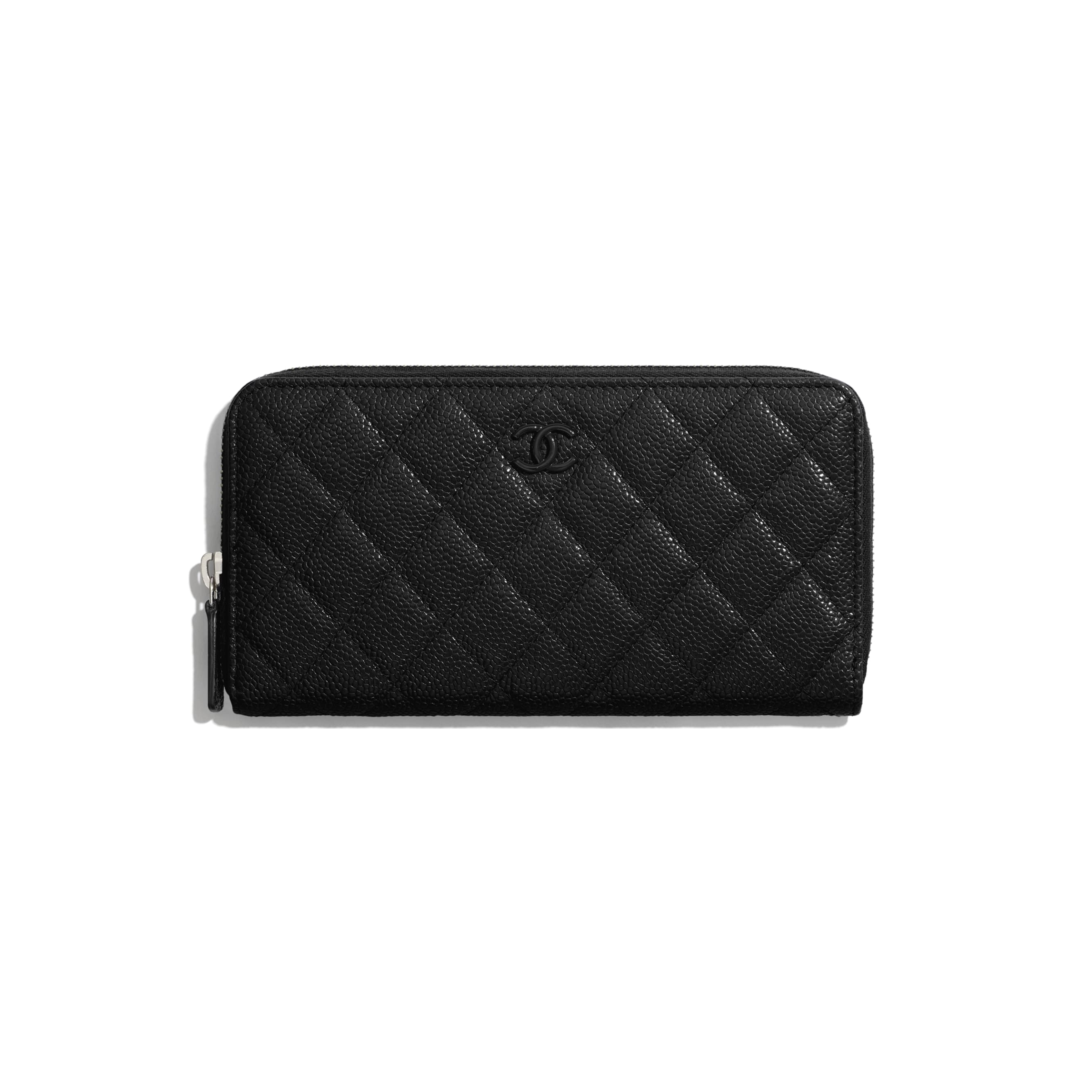 Long Zipped Wallet - Black - Grained Calfskin & Lacquered Metal - CHANEL - Default view - see standard sized version