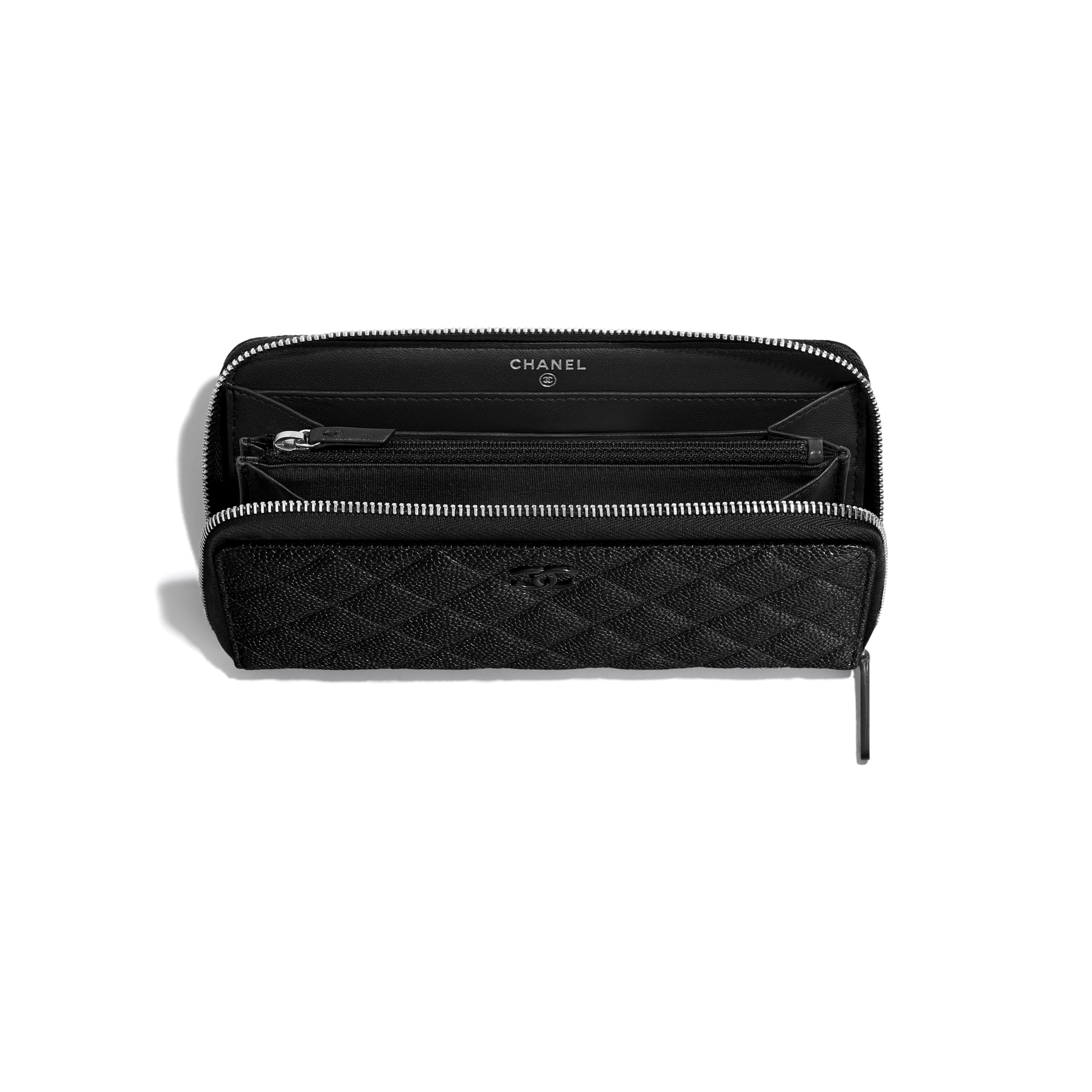 Long Zipped Wallet - Black - Grained Calfskin & Lacquered Metal - CHANEL - Other view - see standard sized version