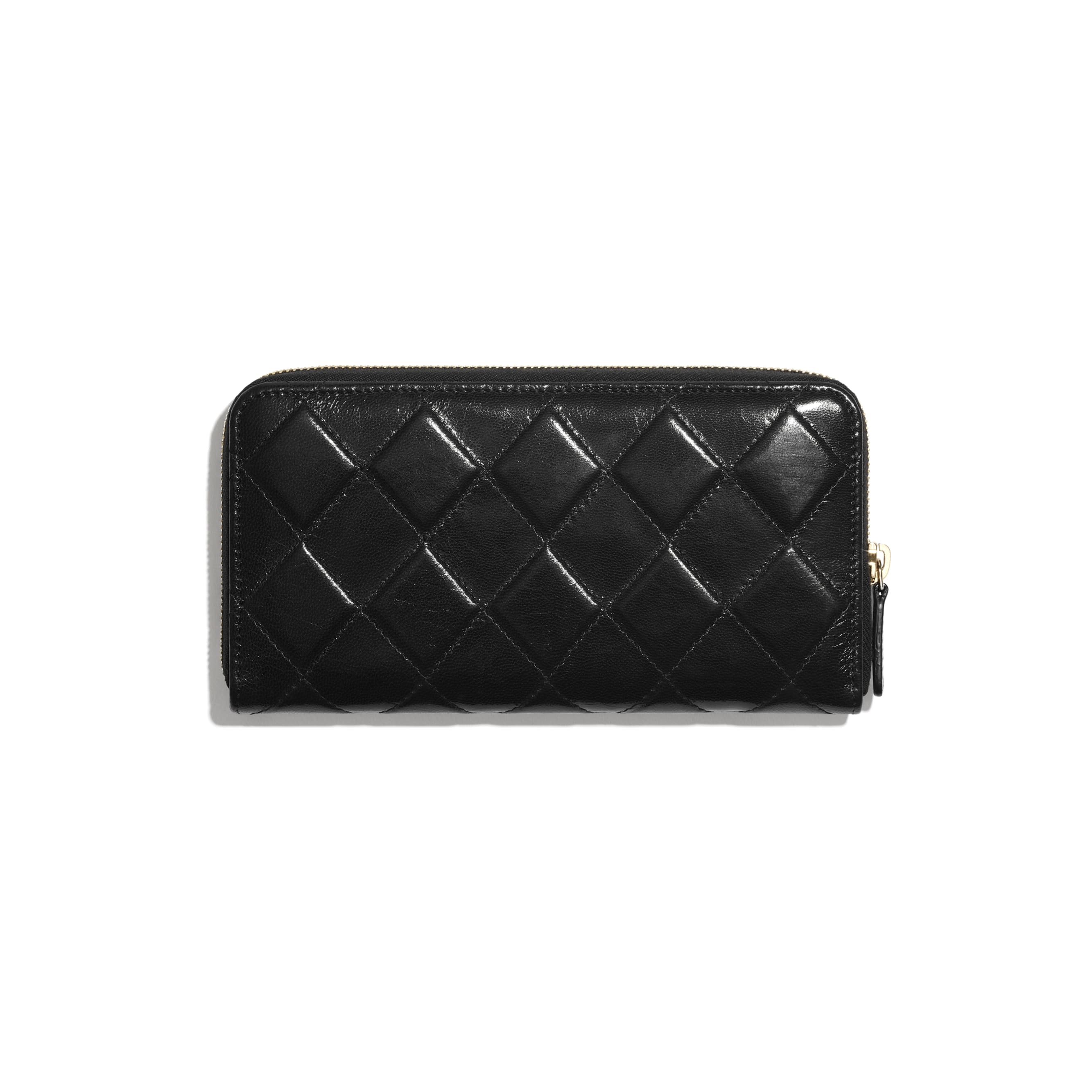 Long Zipped Wallet - Black - Shiny Crumpled Goatskin & Gold-Tone Metal - CHANEL - Alternative view - see standard sized version