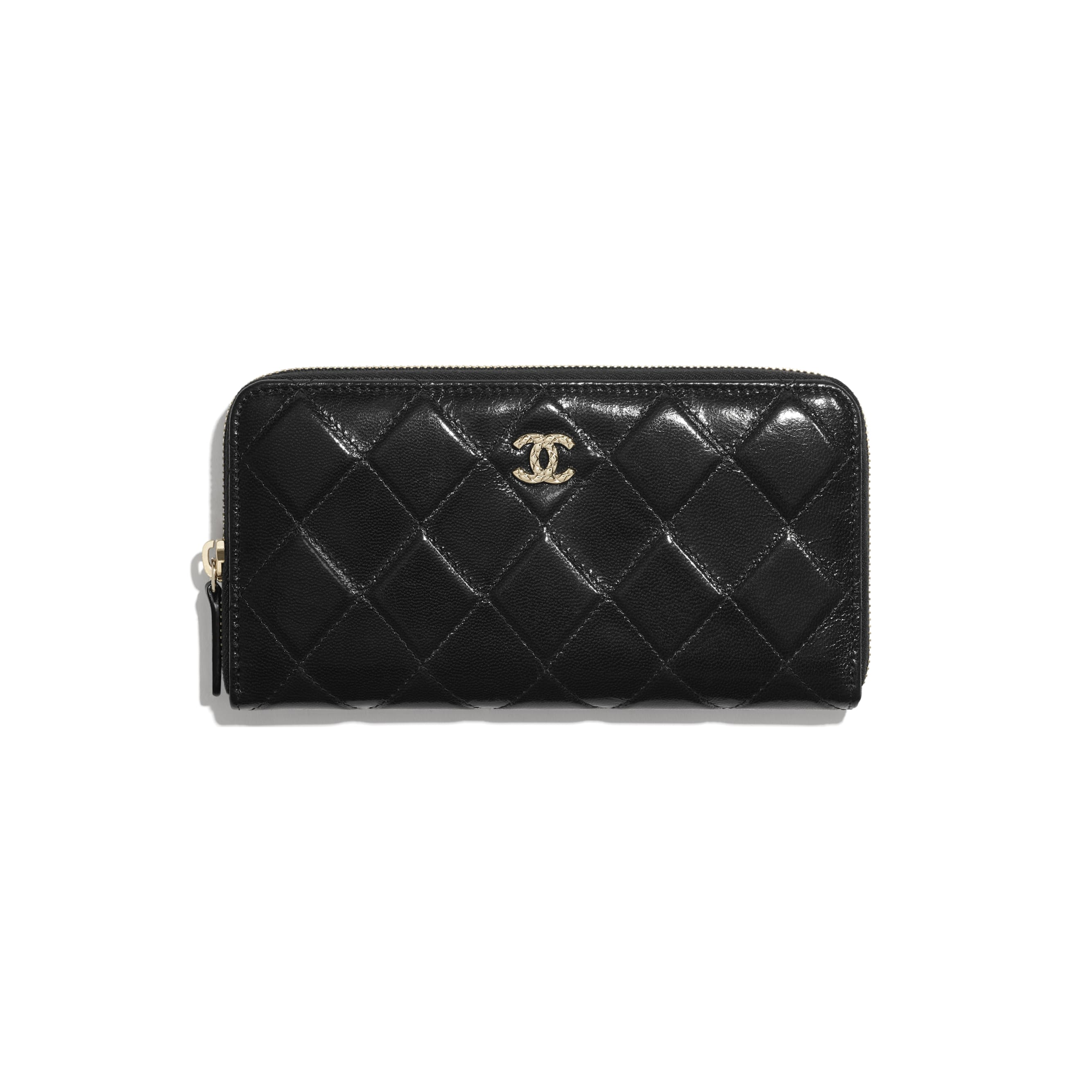 Long Zipped Wallet - Black - Shiny Crumpled Goatskin & Gold-Tone Metal - CHANEL - Default view - see standard sized version