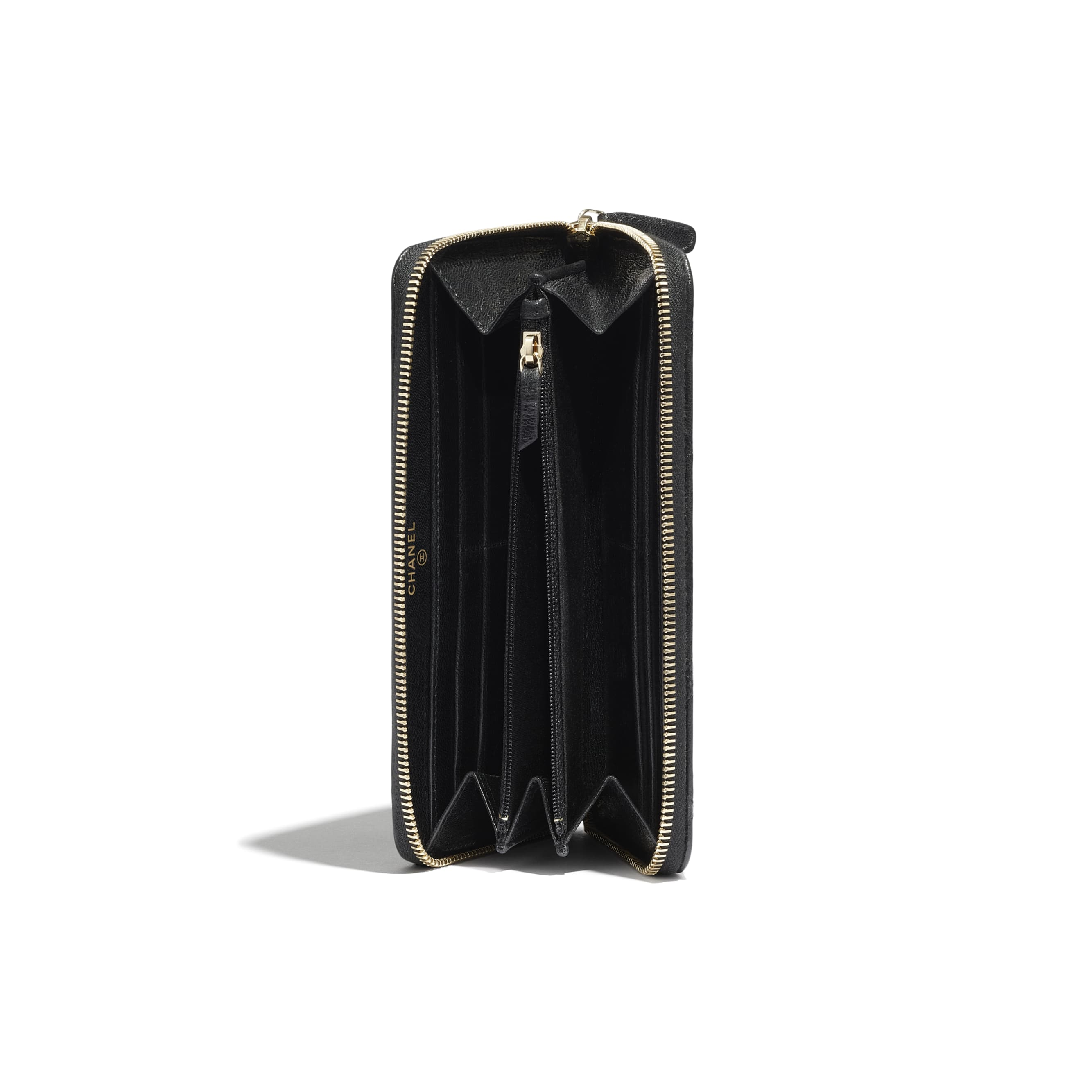 Long Zipped Wallet - Black - Shiny Crumpled Goatskin & Gold-Tone Metal - CHANEL - Extra view - see standard sized version