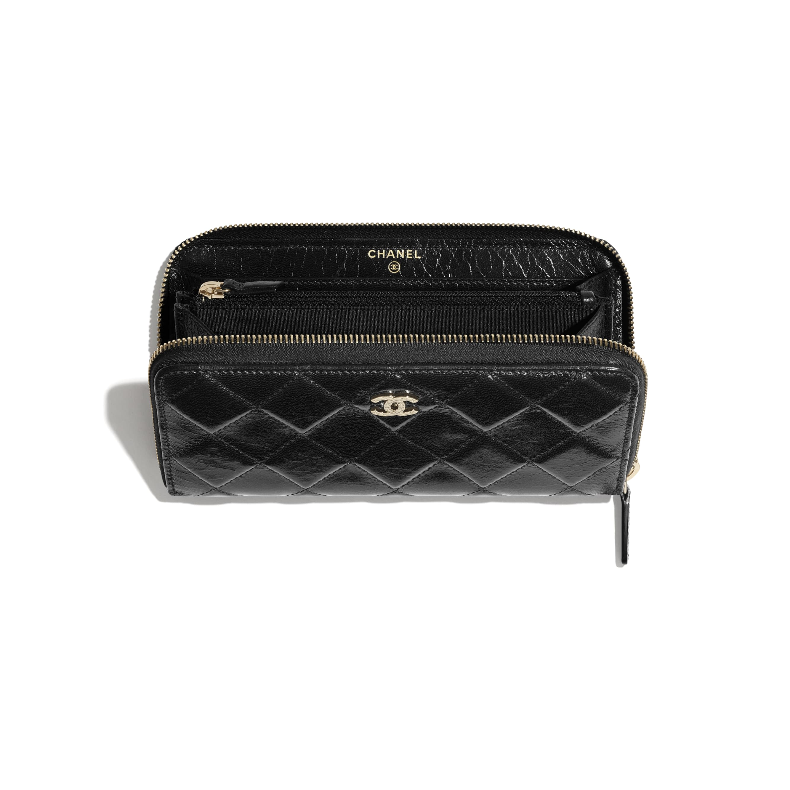 Long Zipped Wallet - Black - Shiny Crumpled Goatskin & Gold-Tone Metal - CHANEL - Other view - see standard sized version