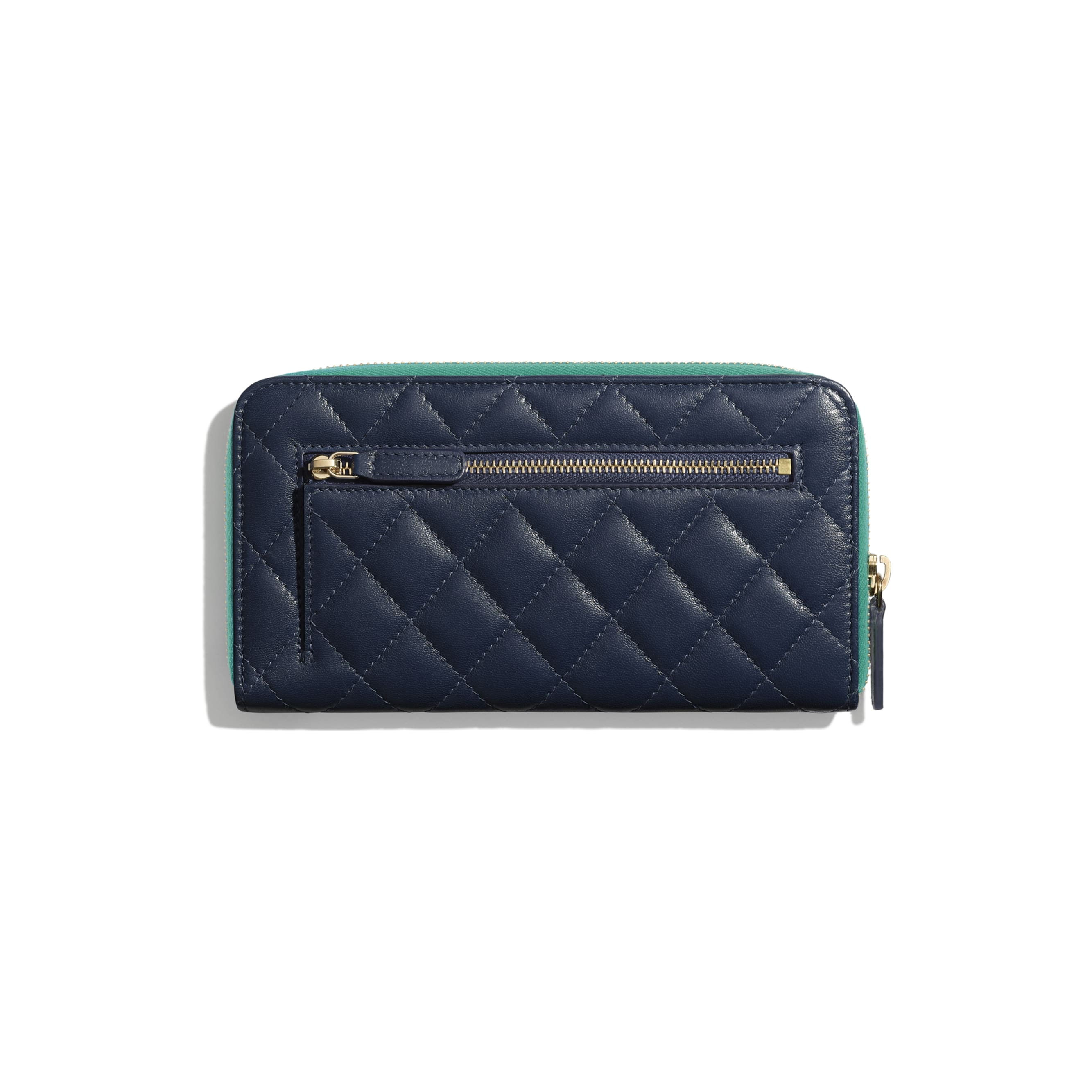 Long Zipped Wallet - Navy Blue, Green & Dark Pink - Goatskin & Gold-Tone Metal - Alternative view - see standard sized version