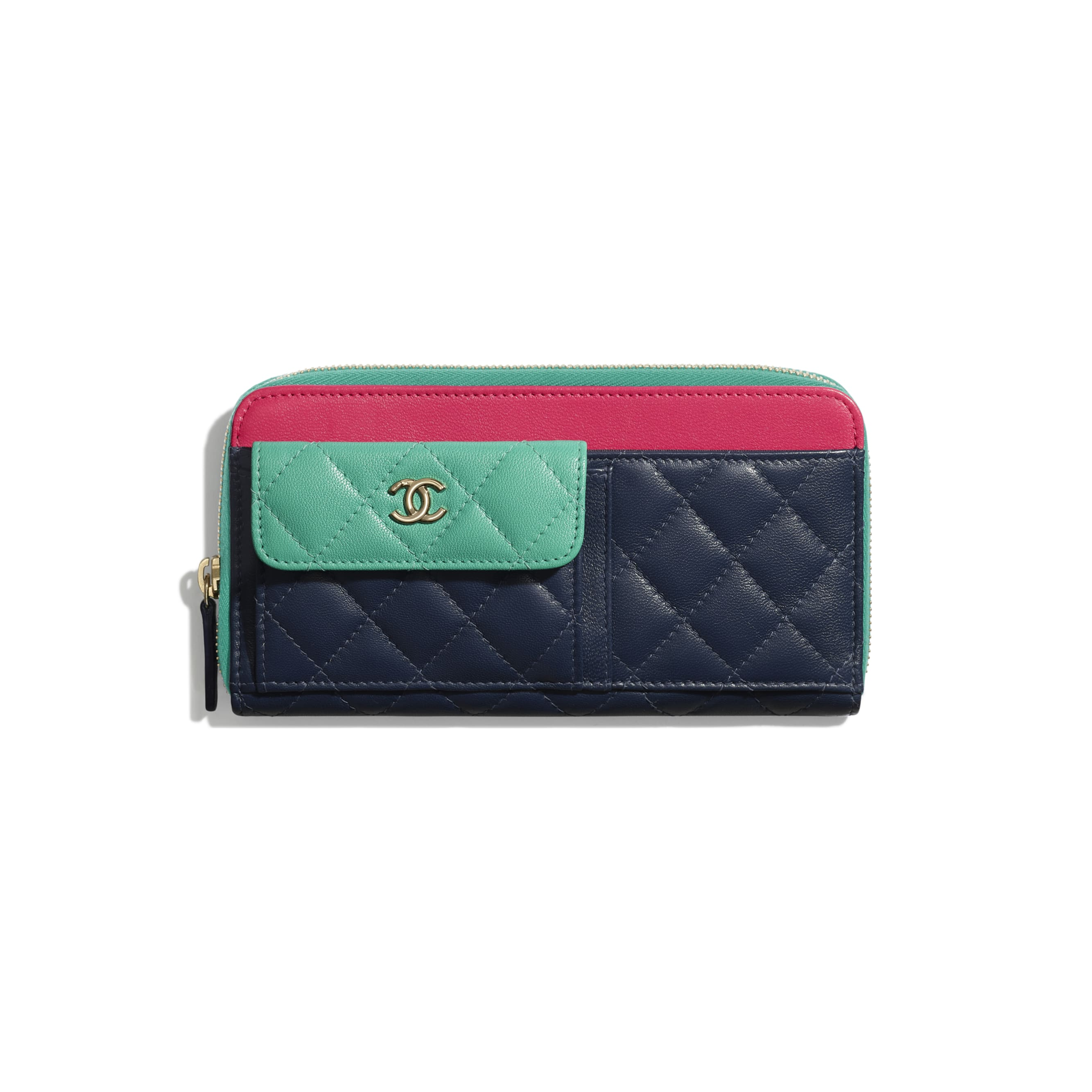Long Zipped Wallet - Navy Blue, Green & Dark Pink - Goatskin & Gold-Tone Metal - Default view - see standard sized version
