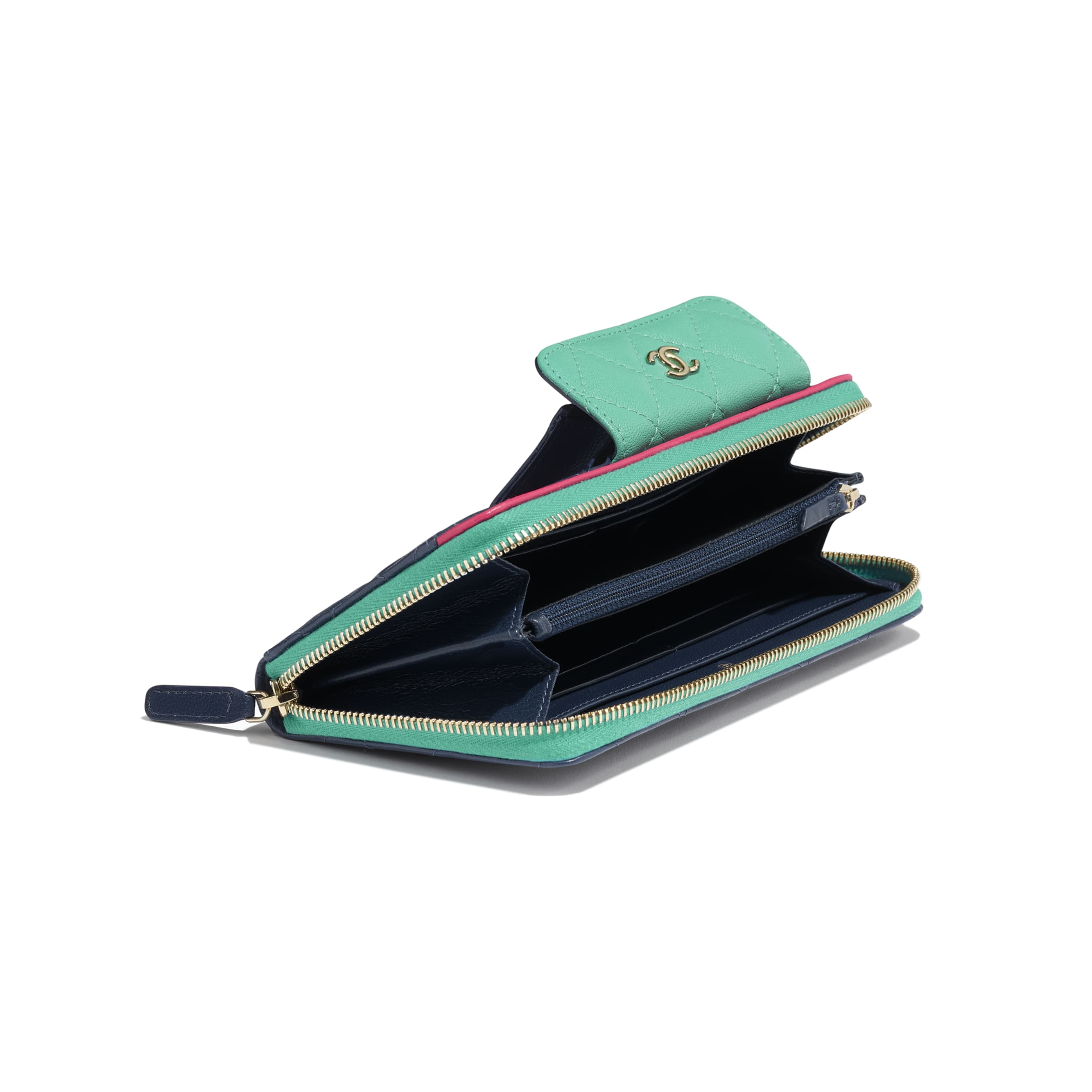 Long Zipped Wallet - Navy Blue, Green & Dark Pink - Goatskin & Gold-Tone Metal - Extra view - see standard sized version