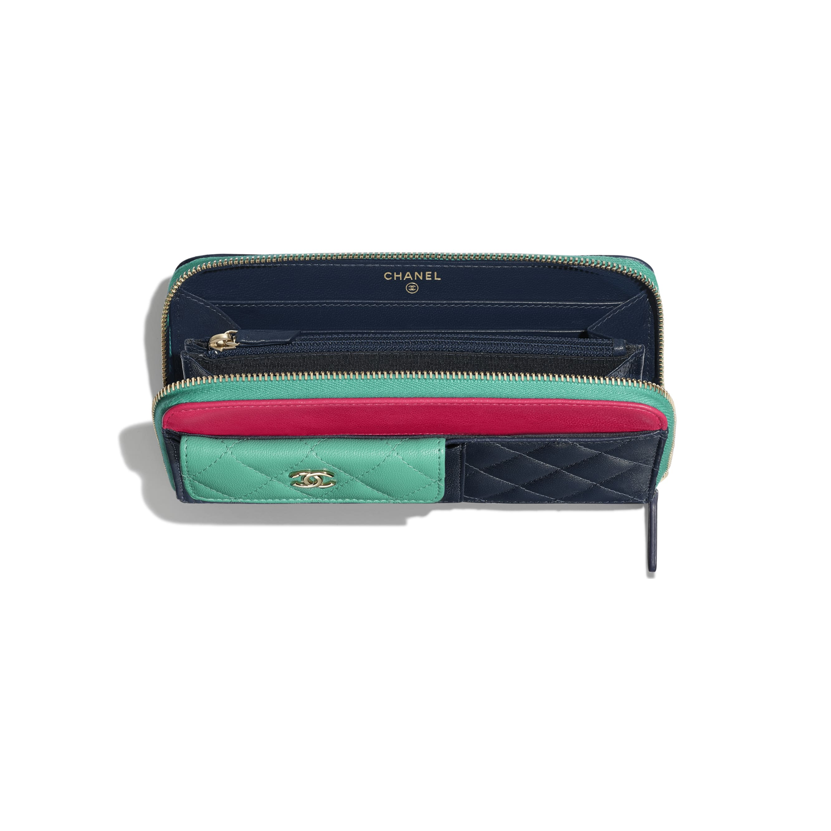 Long Zipped Wallet - Navy Blue, Green & Dark Pink - Goatskin & Gold-Tone Metal - Other view - see standard sized version