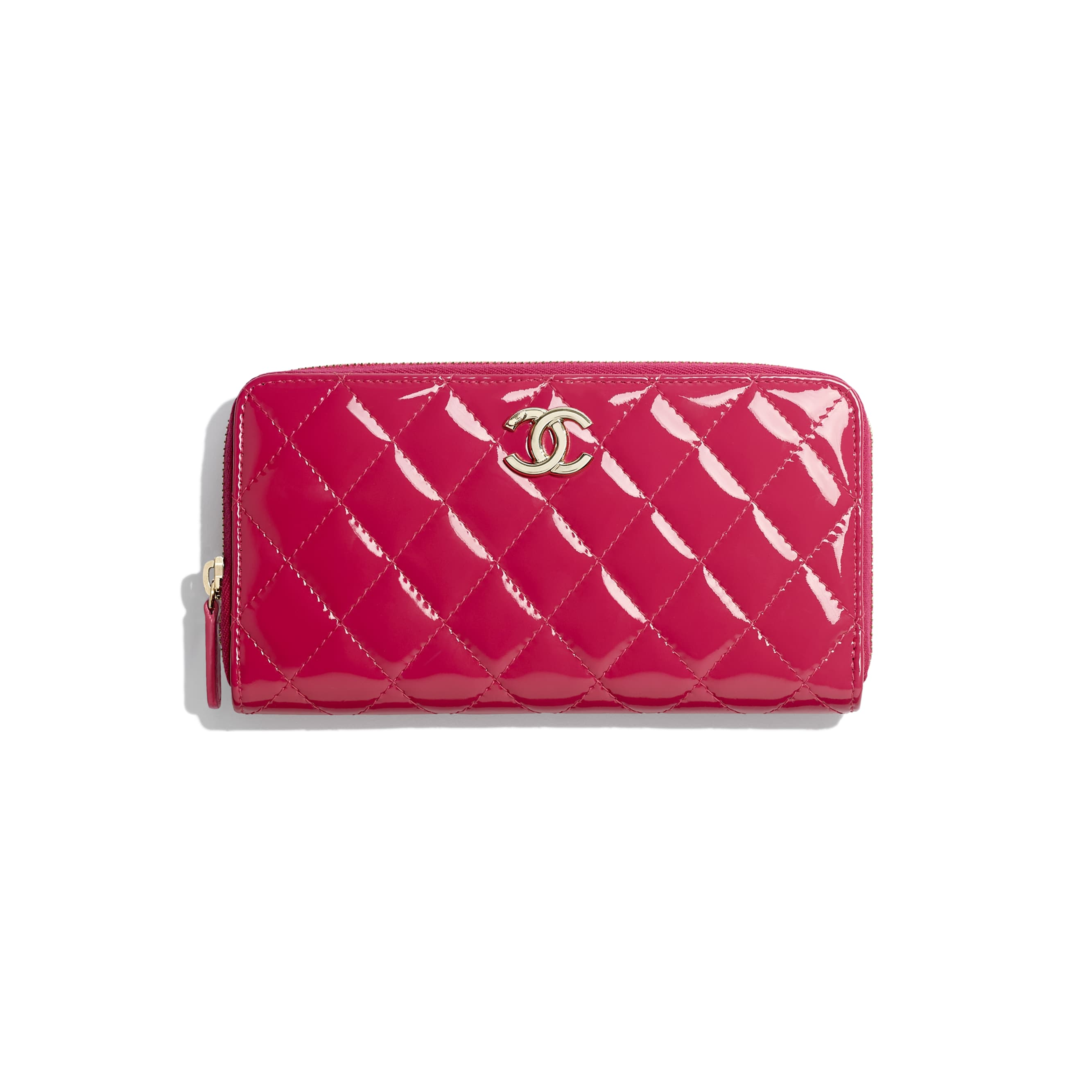 Long Zipped Wallet - Pink - Patent Calfskin, Lambskin & Gold-Tone Metal - CHANEL - Default view - see standard sized version