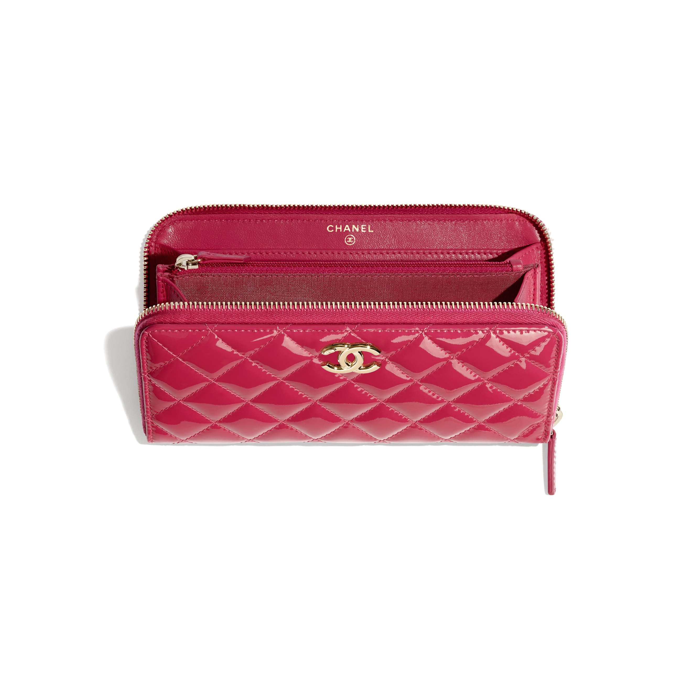 Long Zipped Wallet - Pink - Patent Calfskin, Lambskin & Gold-Tone Metal - CHANEL - Other view - see standard sized version