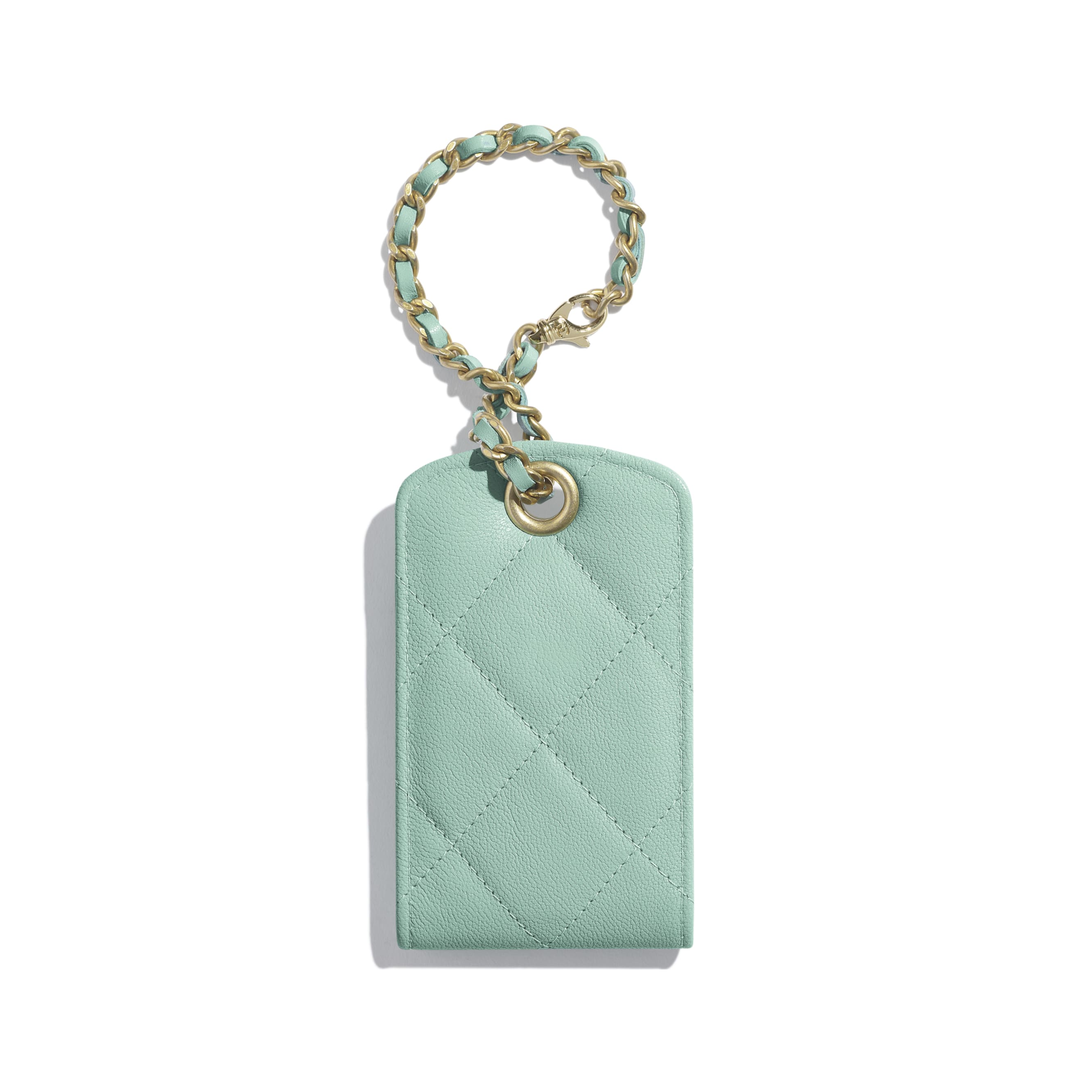 Luggage Tag - Blue - Lambskin, Gold-Tone, Silver-Tone & Ruthenium-Finish Metal - Alternative view - see standard sized version