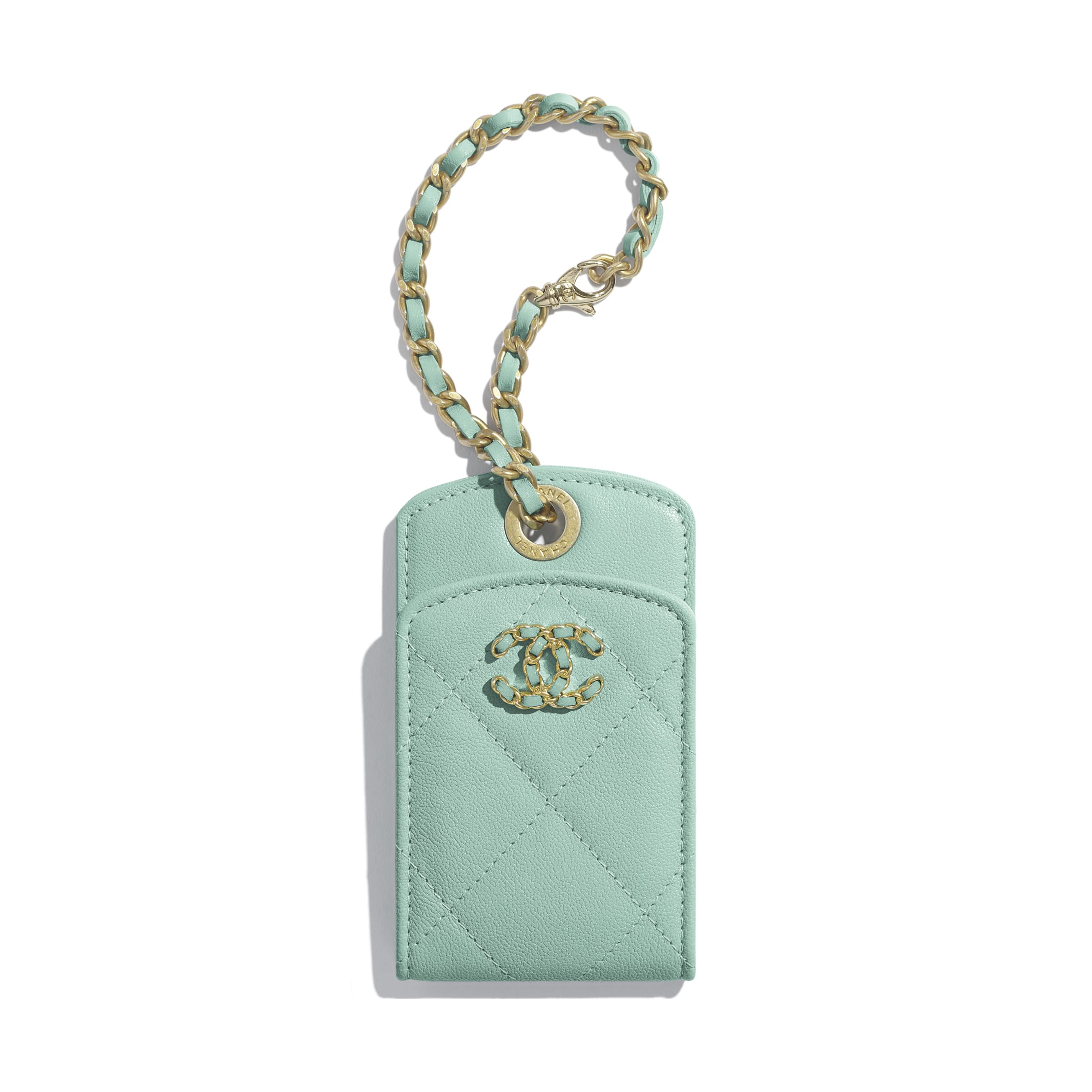 Luggage Tag - Blue - Lambskin, Gold-Tone, Silver-Tone & Ruthenium-Finish Metal - Default view - see standard sized version