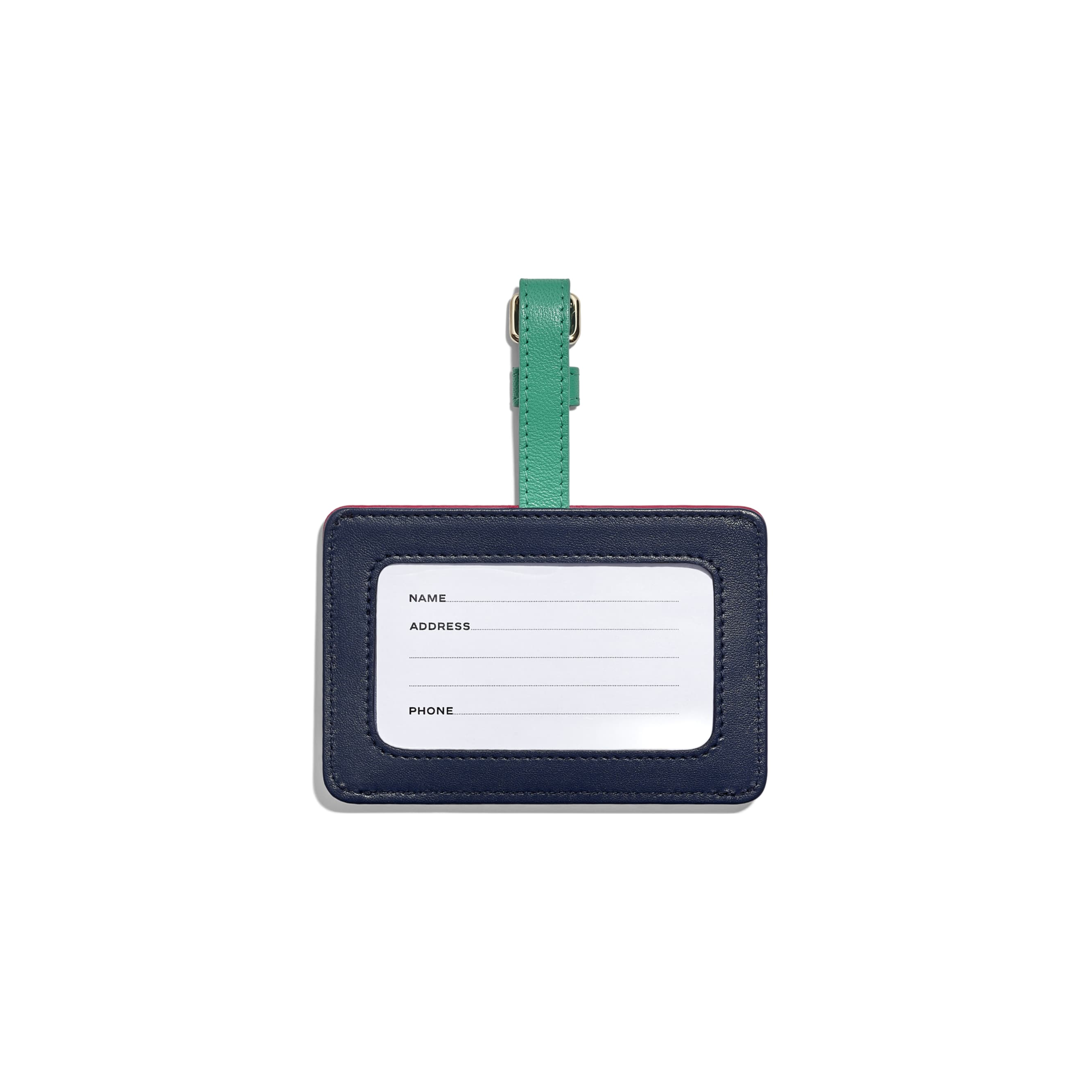 Luggage Tag - Navy Blue, Green & Dark Pink - Goatskin & Gold-Tone Metal - Alternative view - see standard sized version