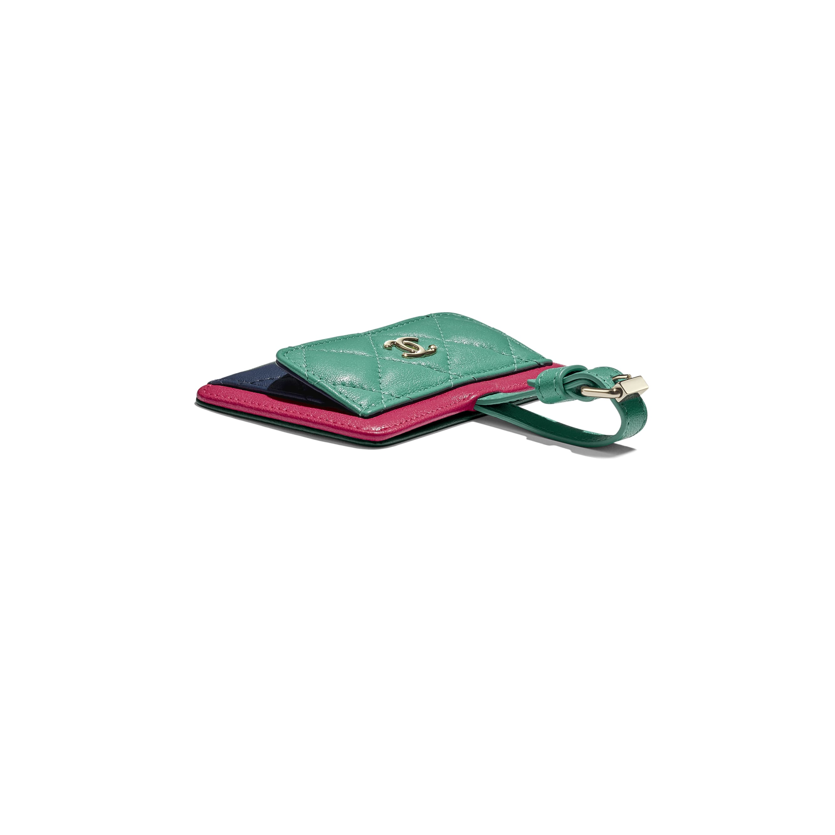 Luggage Tag - Navy Blue, Green & Dark Pink - Goatskin & Gold-Tone Metal - Extra view - see standard sized version