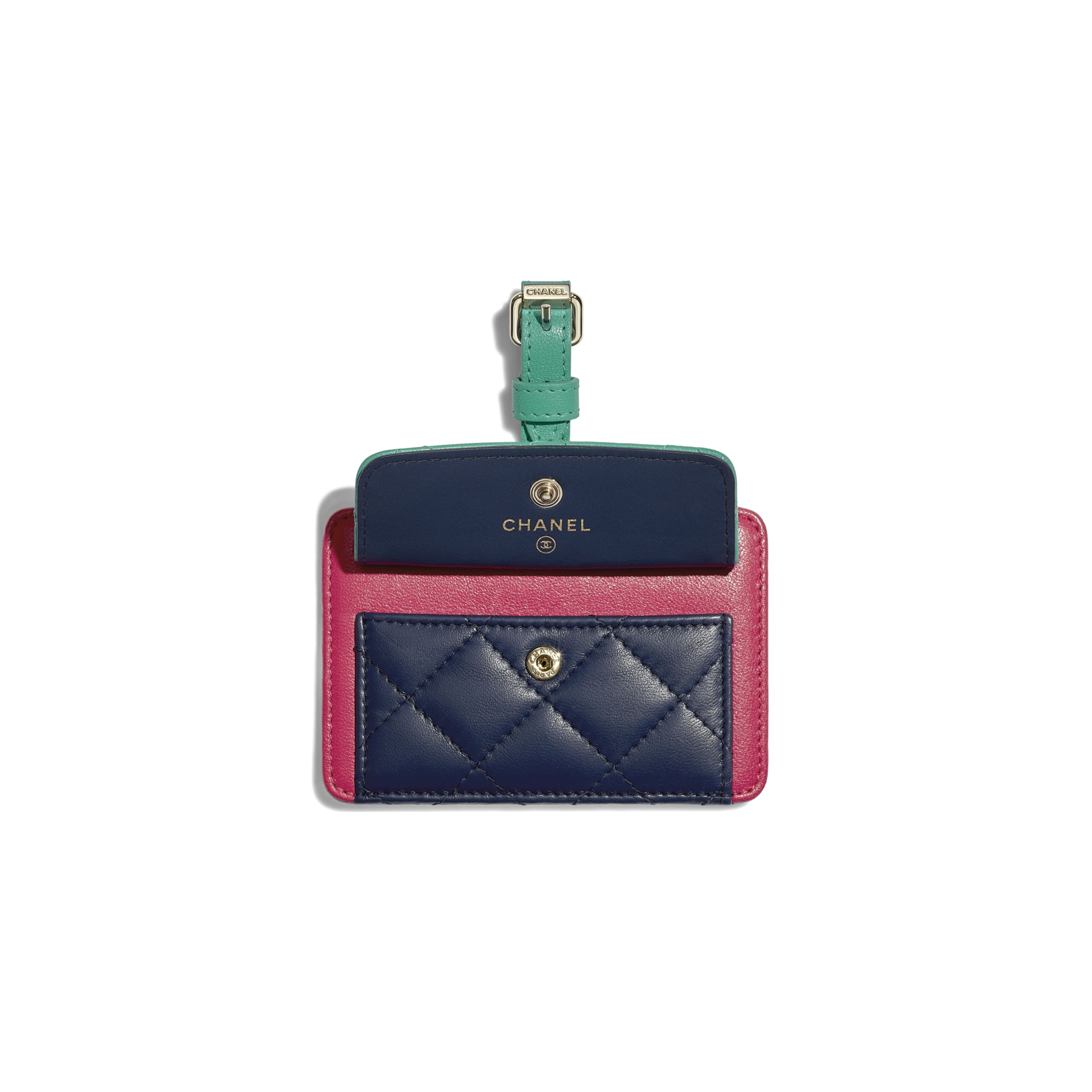 Luggage Tag - Navy Blue, Green & Dark Pink - Goatskin & Gold-Tone Metal - Other view - see standard sized version