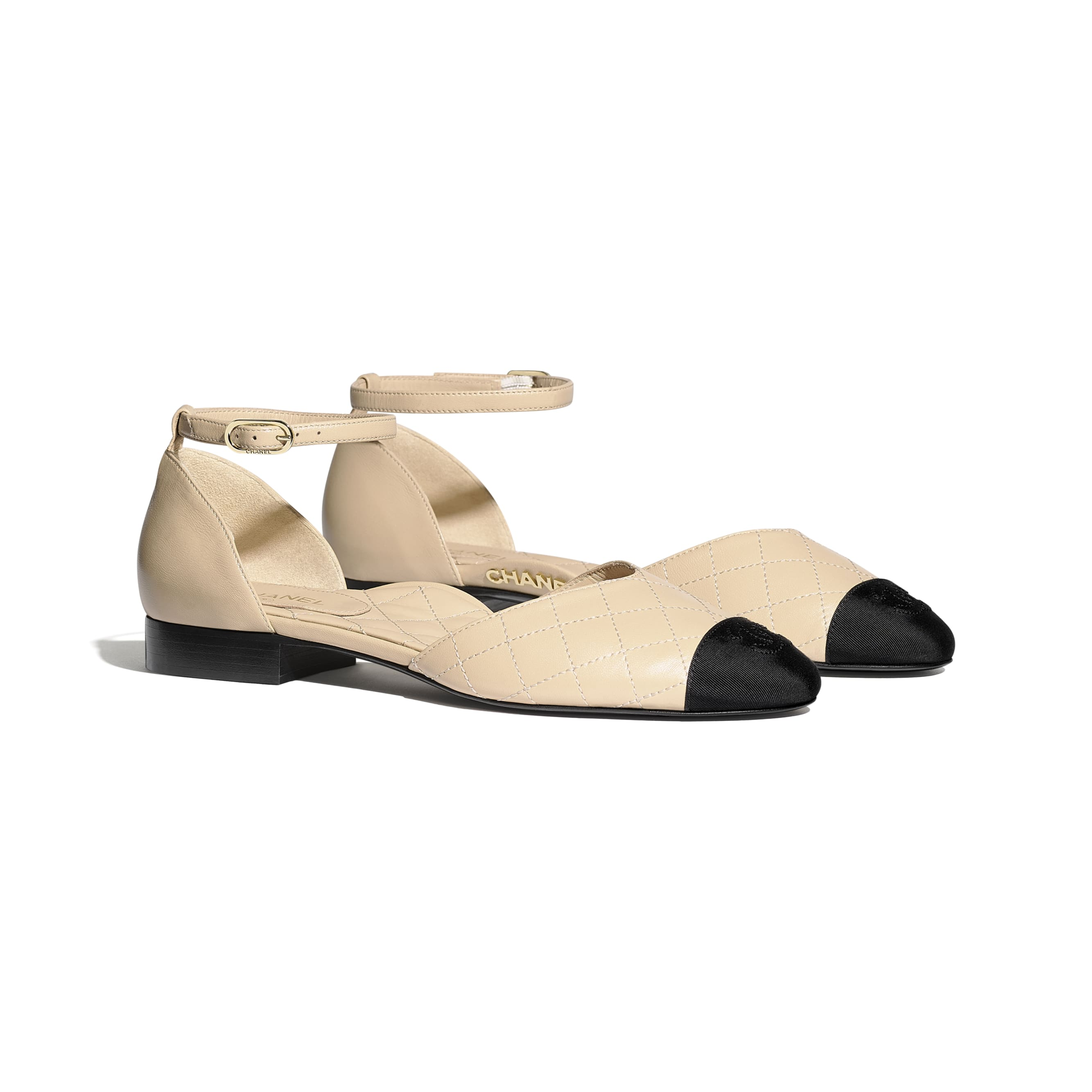 Mary Janes  - Beige & Black - Lambskin & Grosgrain - Alternative view - see standard sized version