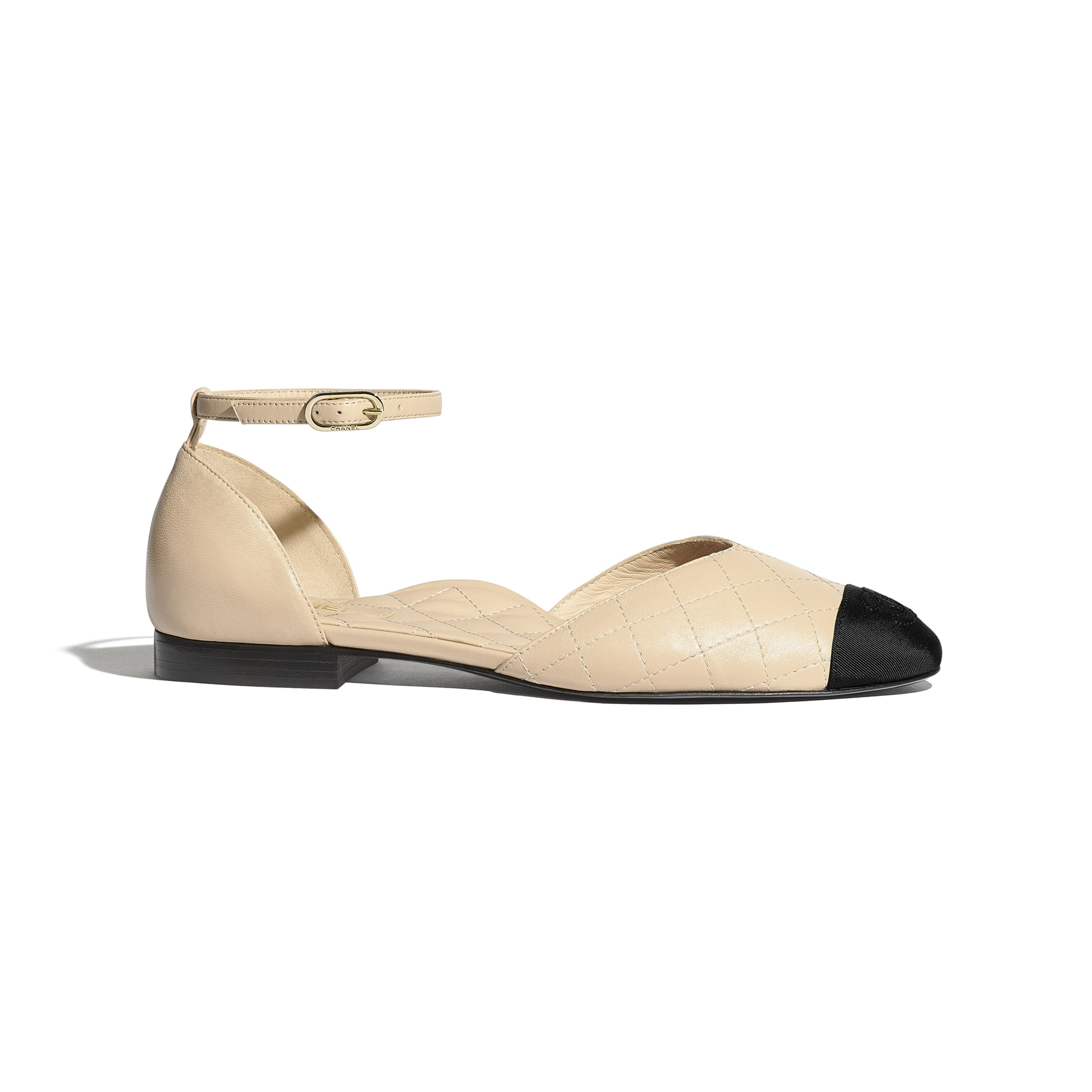 Mary Janes  - Beige & Black - Lambskin & Grosgrain - Default view - see standard sized version