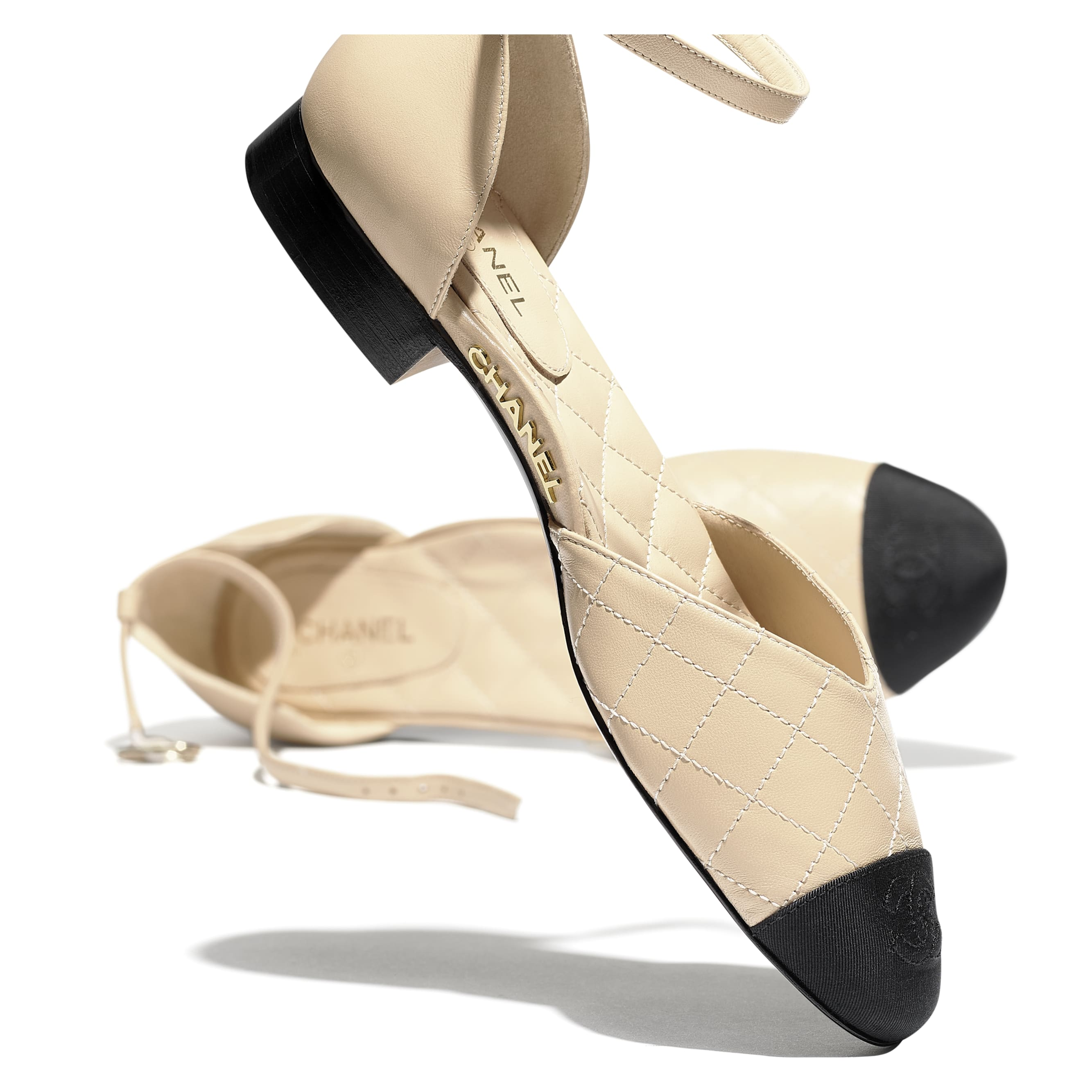 Mary Janes  - Beige & Black - Lambskin & Grosgrain - Extra view - see standard sized version