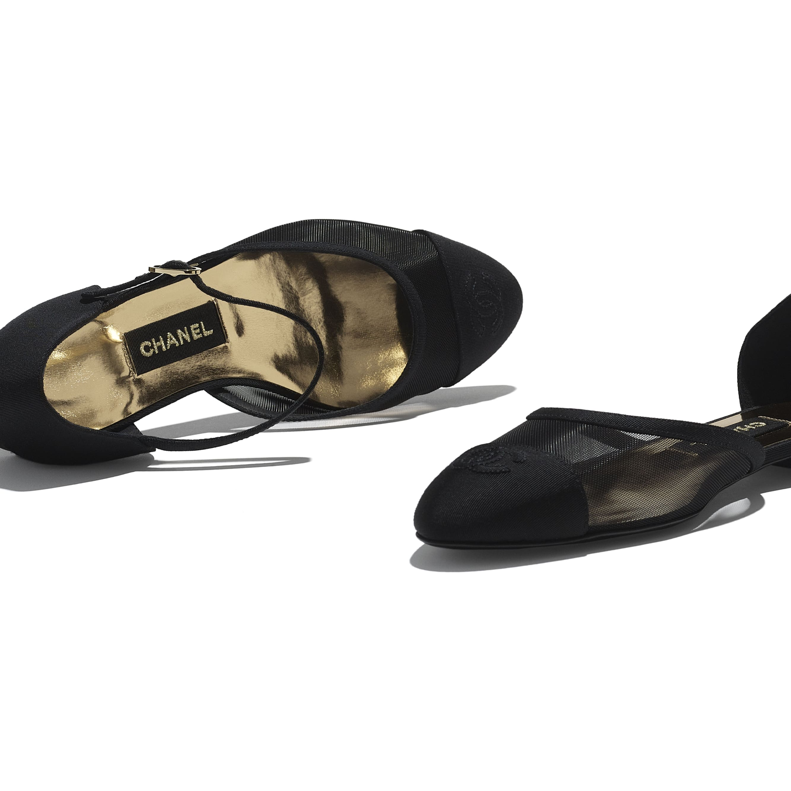 Mary Janes  - Black - Mesh & Grosgrain - CHANEL - Extra view - see standard sized version