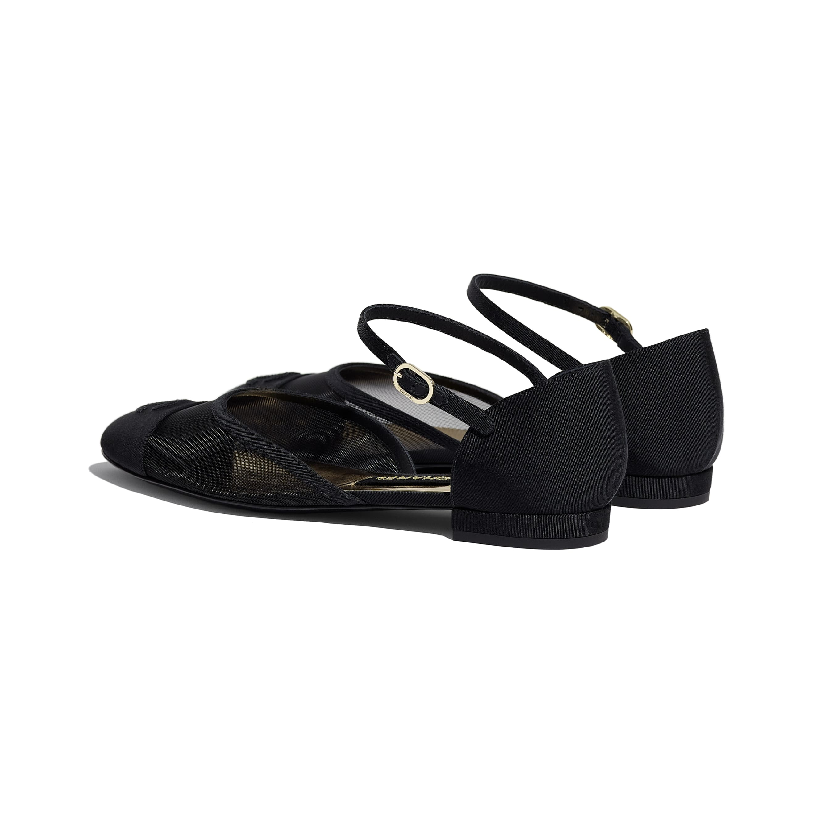 Mary Janes  - Black - Mesh & Grosgrain - CHANEL - Other view - see standard sized version