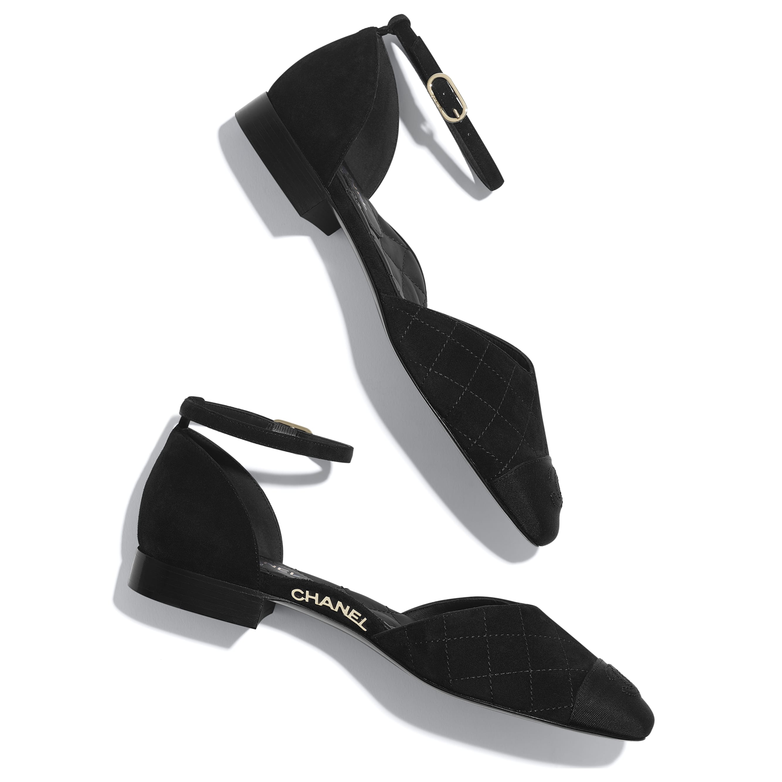 Mary Janes  - Black - Suede Calfskin & Grosgrain - CHANEL - Extra view - see standard sized version