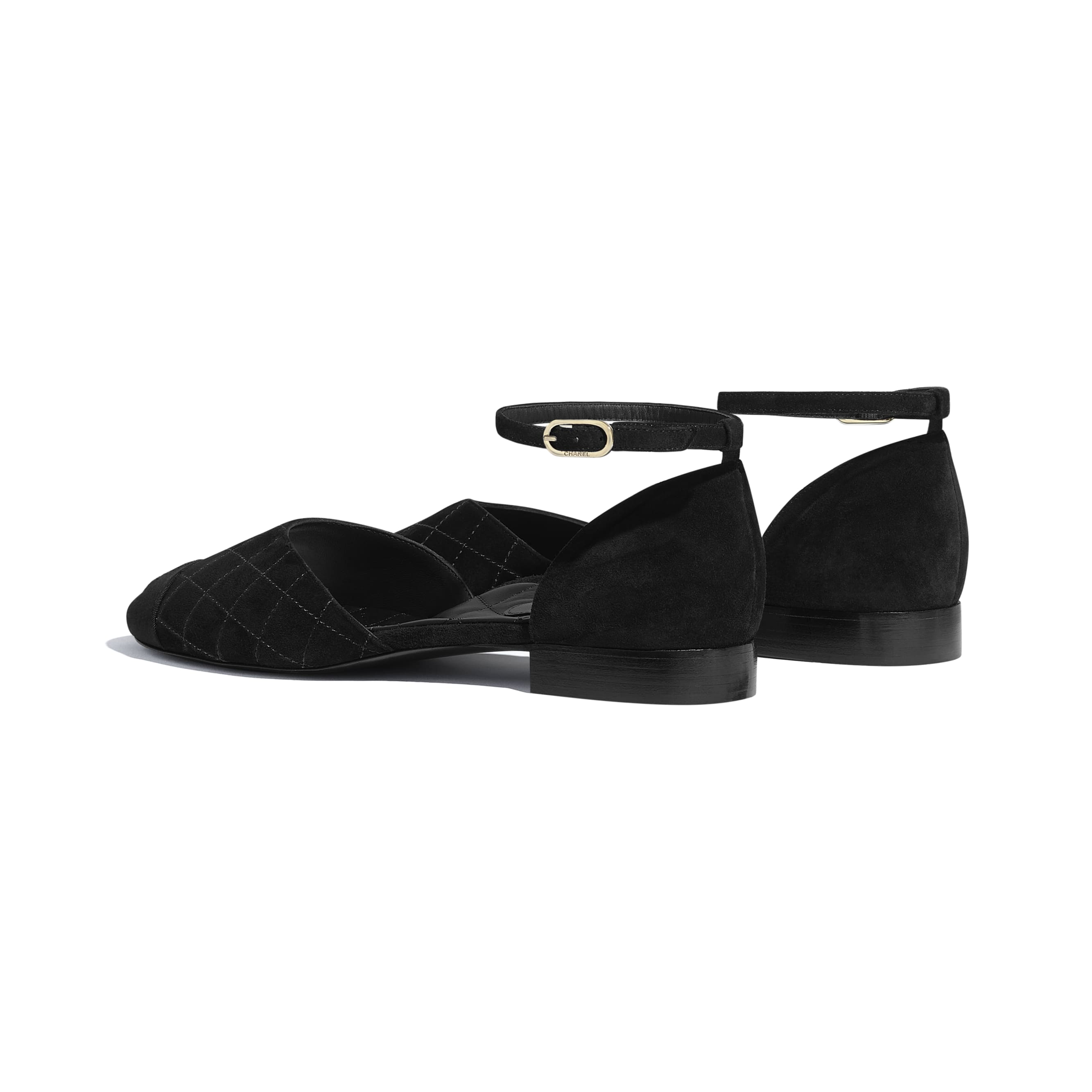 Mary Janes  - Black - Suede Calfskin & Grosgrain - CHANEL - Other view - see standard sized version