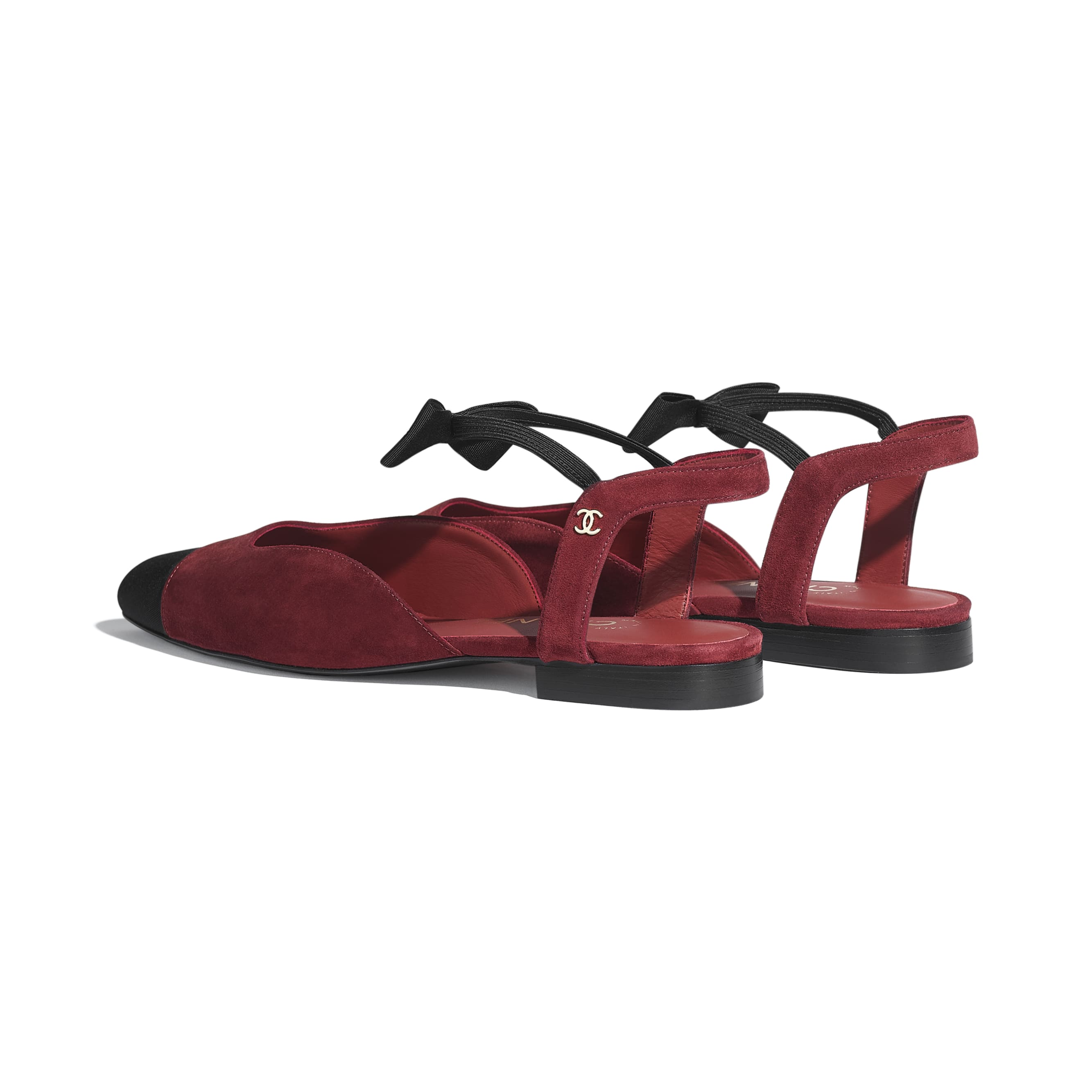 Mary Janes  - Burgundy & Black - Suede Calfskin & Grosgrain - CHANEL - Other view - see standard sized version