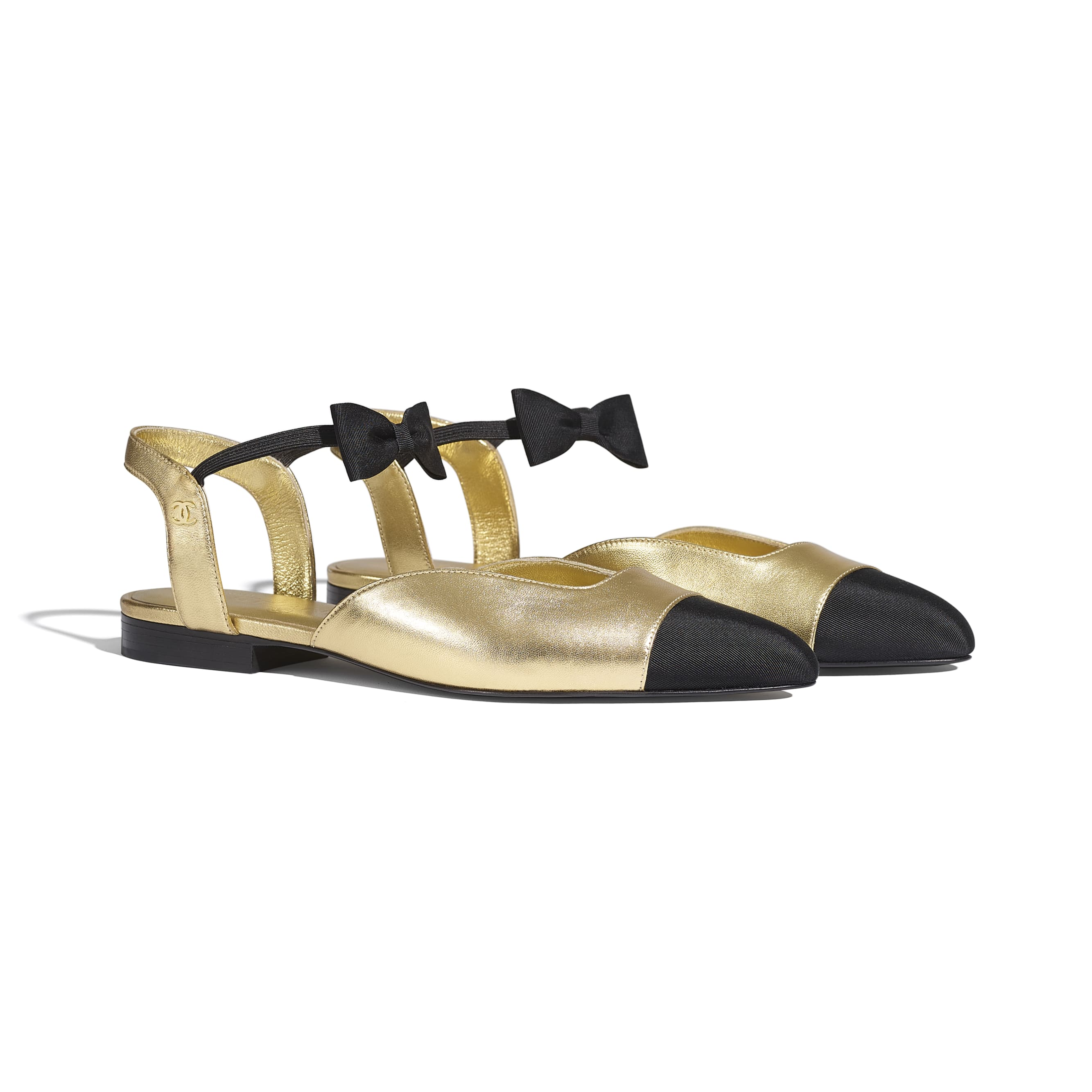 Mary Janes  - Gold & Black - Laminated Lambskin & Grosgrain - CHANEL - Alternative view - see standard sized version