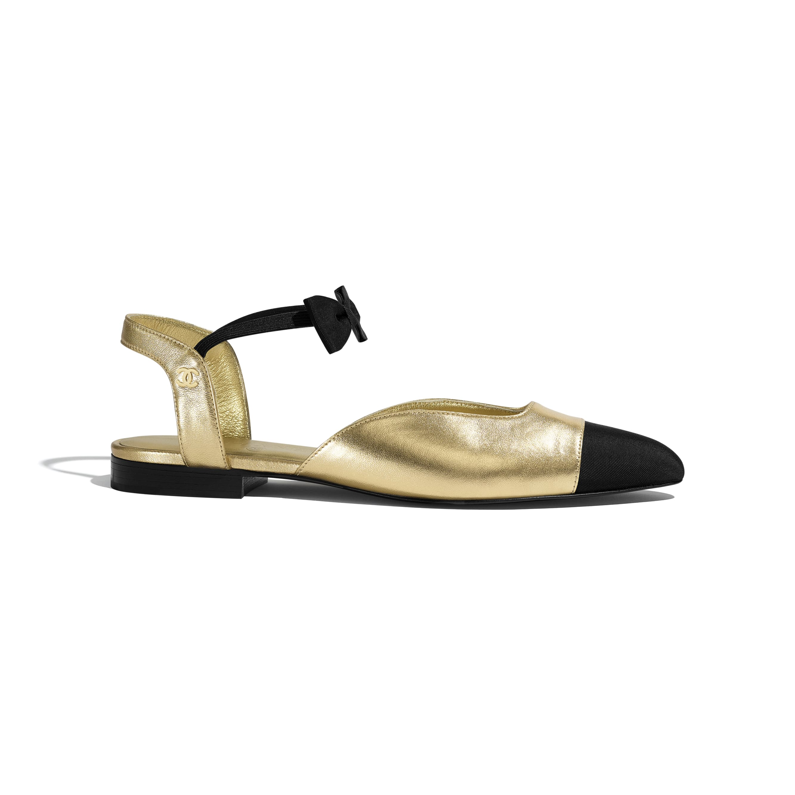 Mary Janes  - Gold & Black - Laminated Lambskin & Grosgrain - CHANEL - Default view - see standard sized version