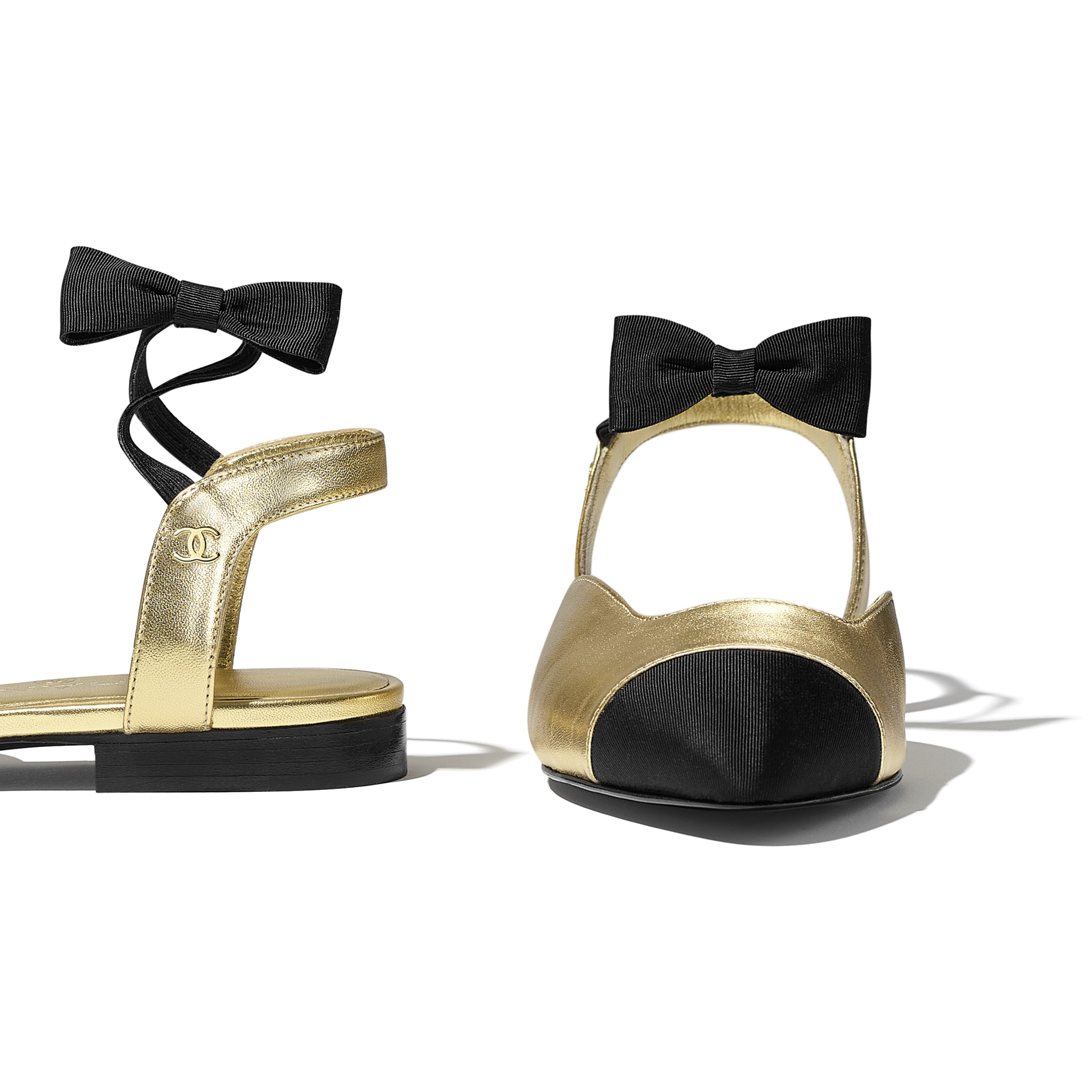 Mary Janes  - Gold & Black - Laminated Lambskin & Grosgrain - CHANEL - Extra view - see standard sized version