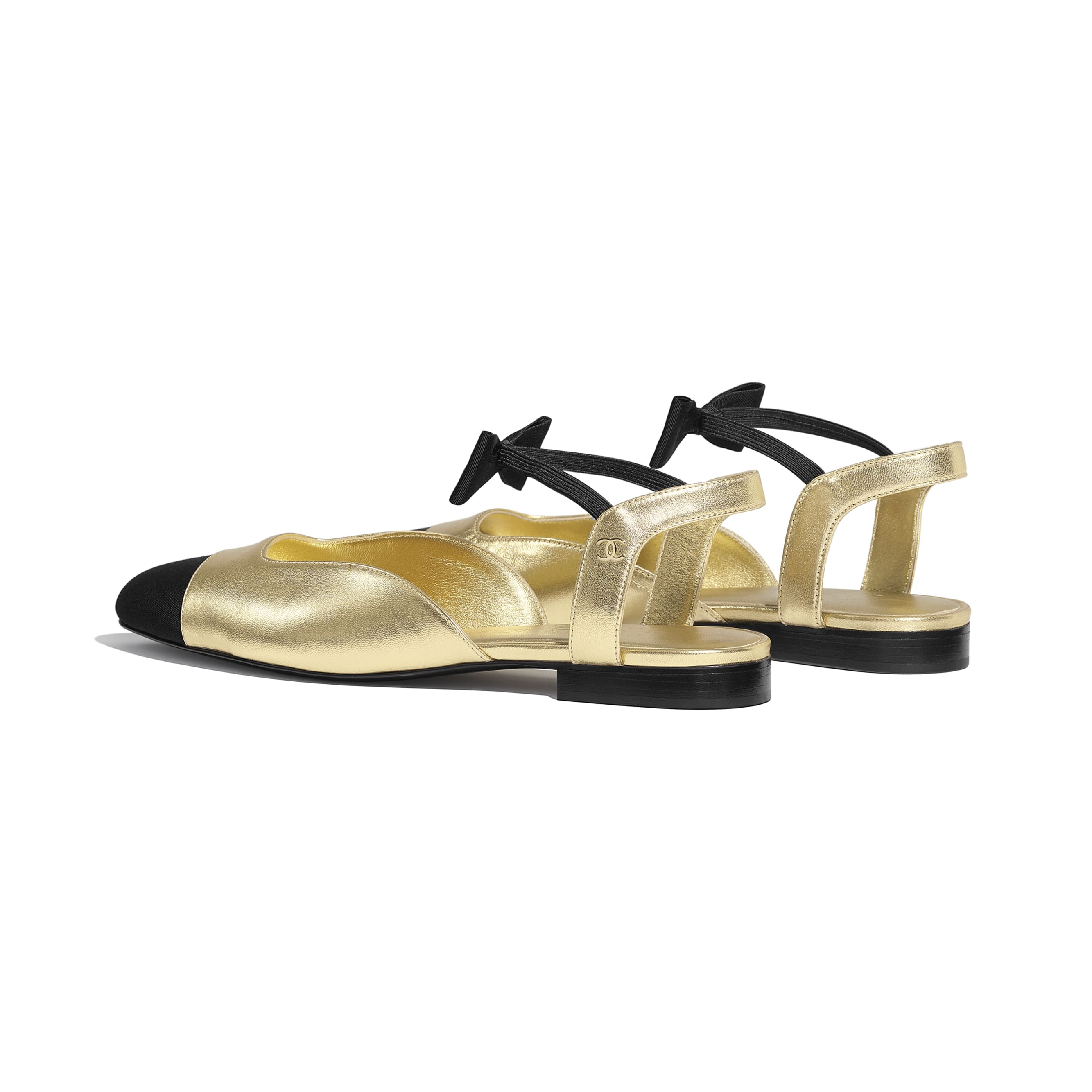 Mary Janes  - Gold & Black - Laminated Lambskin & Grosgrain - CHANEL - Other view - see standard sized version