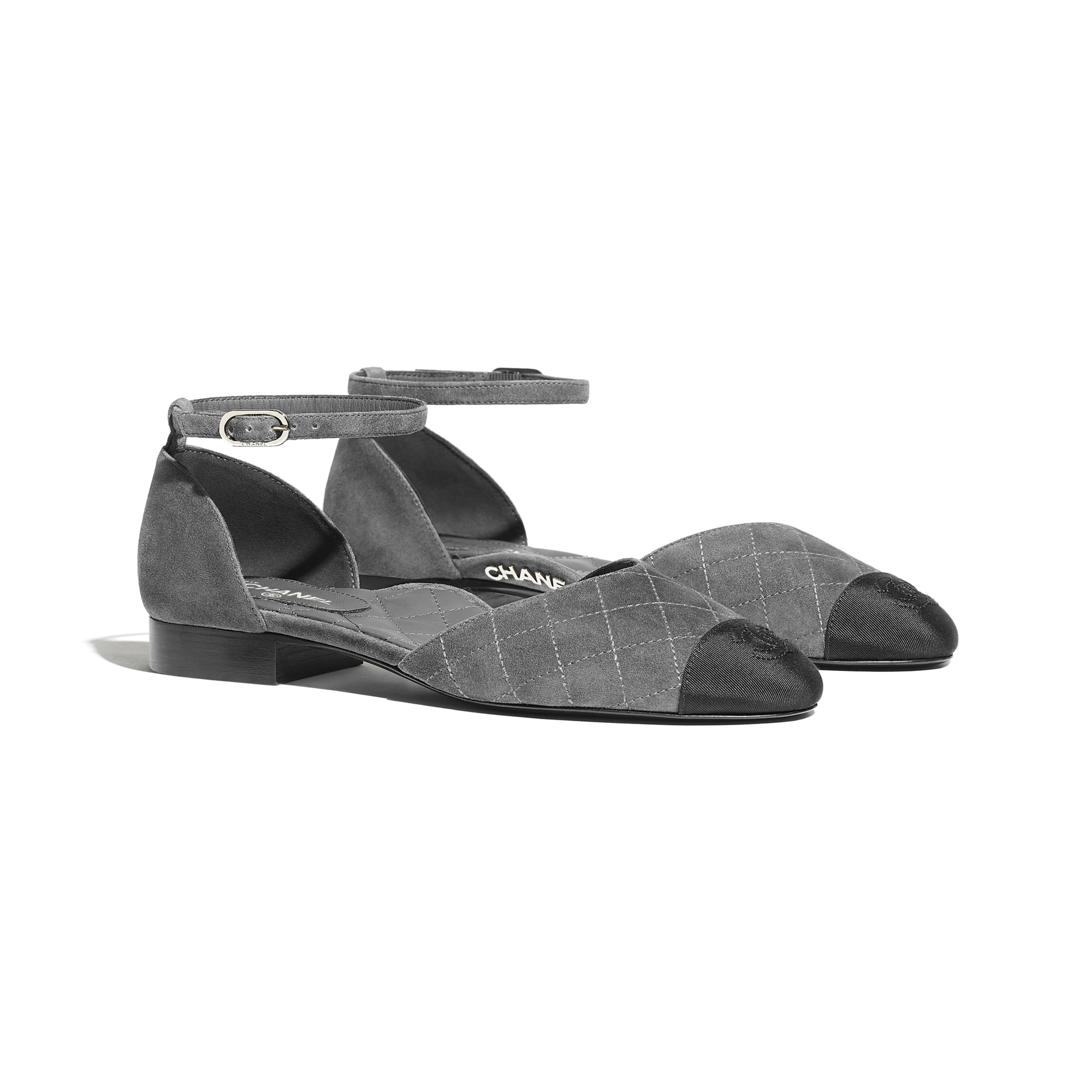 Mary Janes  - Grey & Black - Suede Calfskin & Grosgrain - CHANEL - Alternative view - see standard sized version