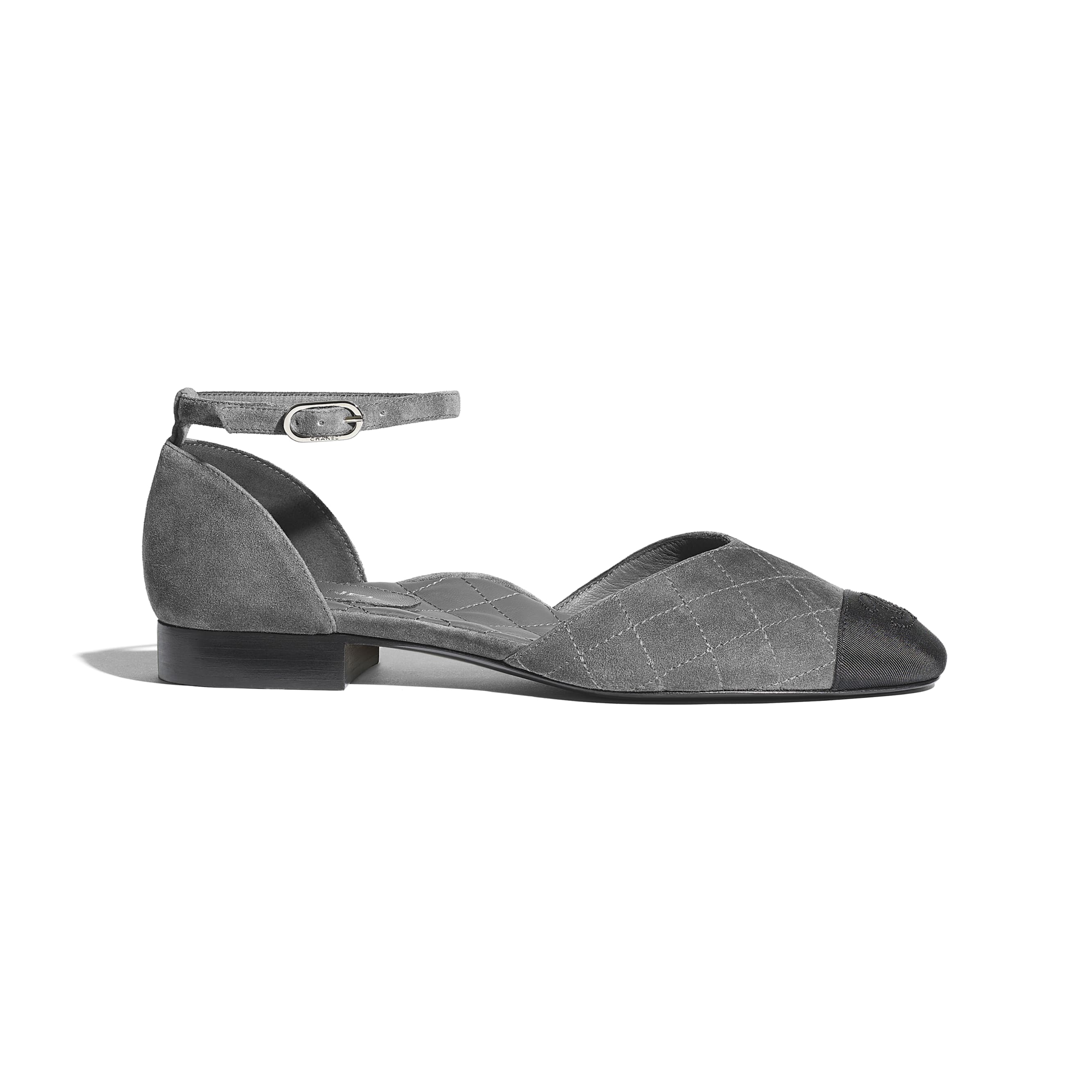 Mary Janes  - Grey & Black - Suede Calfskin & Grosgrain - CHANEL - Default view - see standard sized version