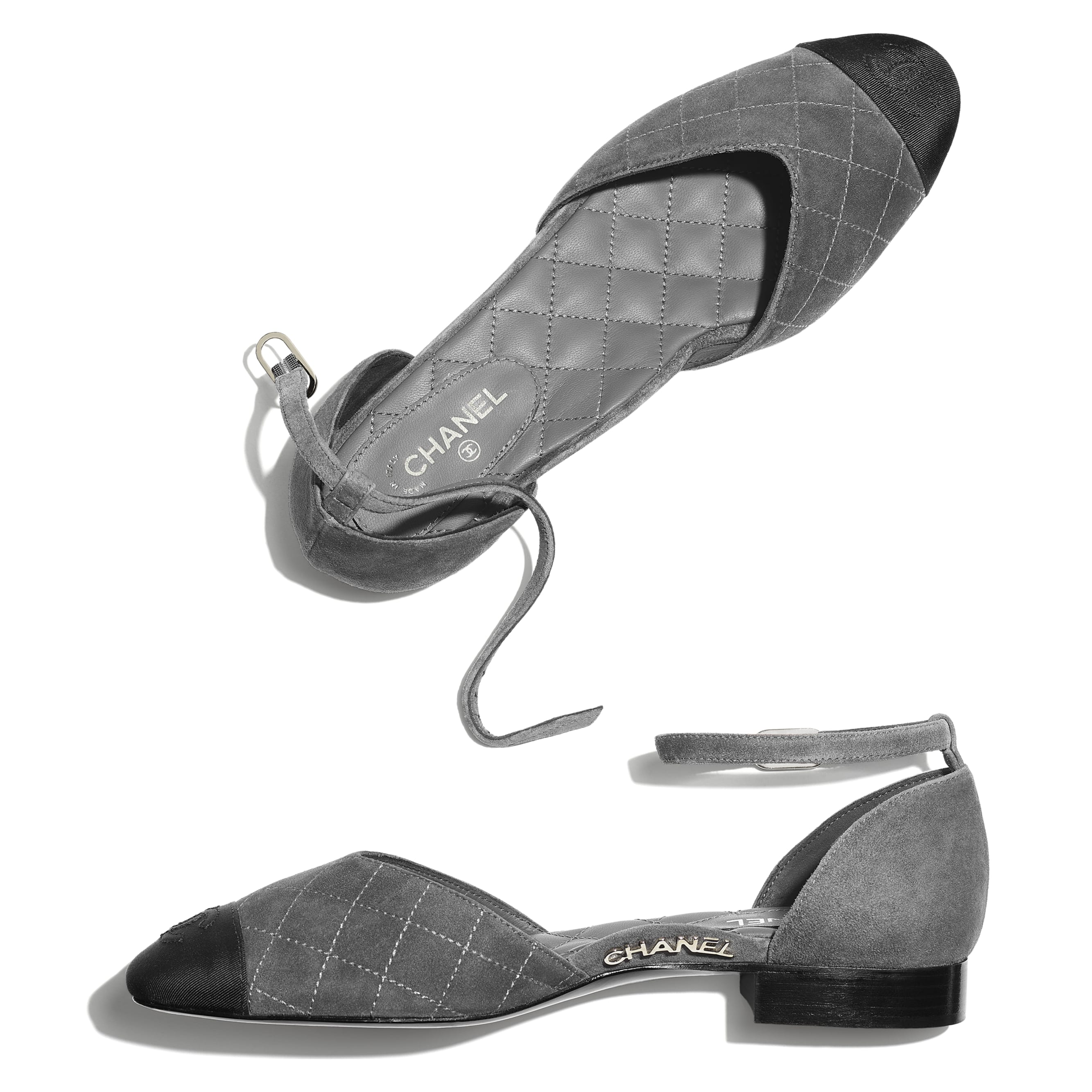 Mary Janes  - Grey & Black - Suede Calfskin & Grosgrain - CHANEL - Extra view - see standard sized version