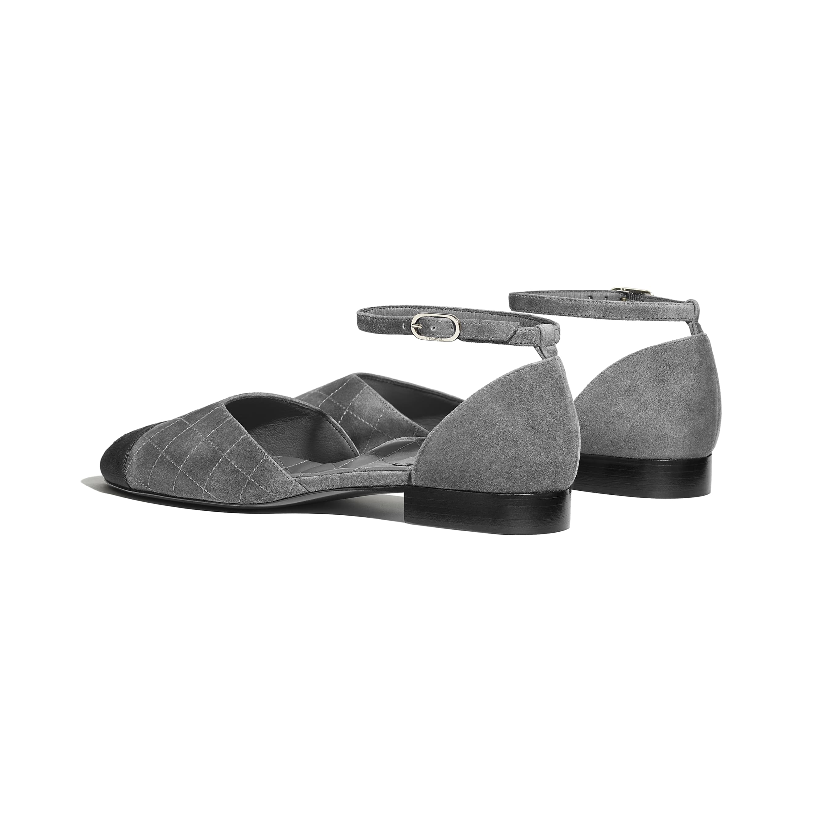 Mary Janes  - Grey & Black - Suede Calfskin & Grosgrain - CHANEL - Other view - see standard sized version