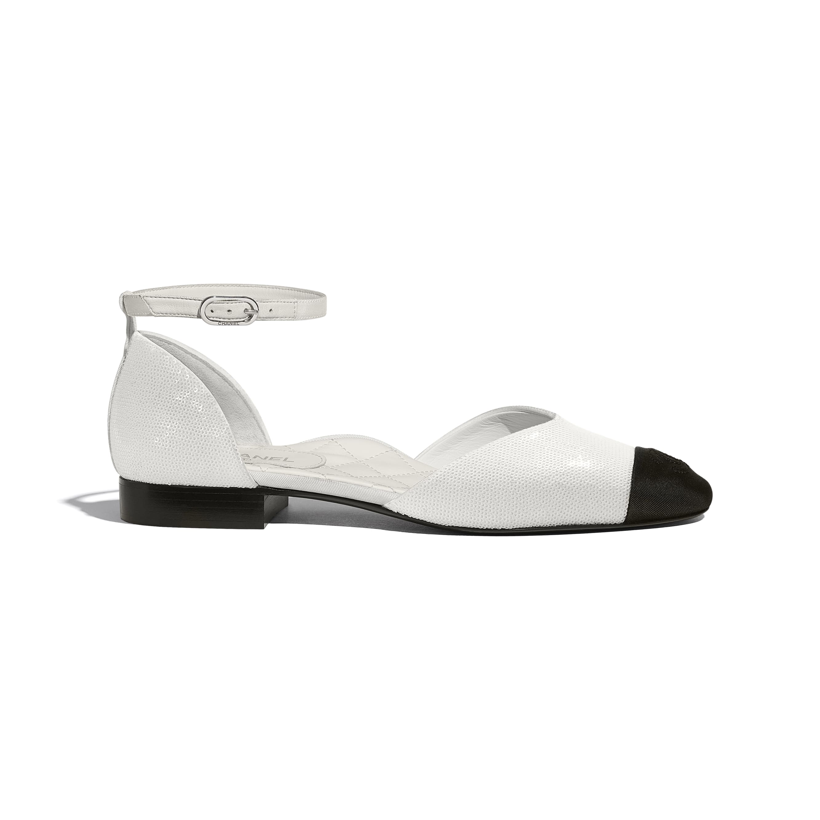 Mary Janes  - Ivory & Black - Sequins & Grosgrain - CHANEL - Default view - see standard sized version