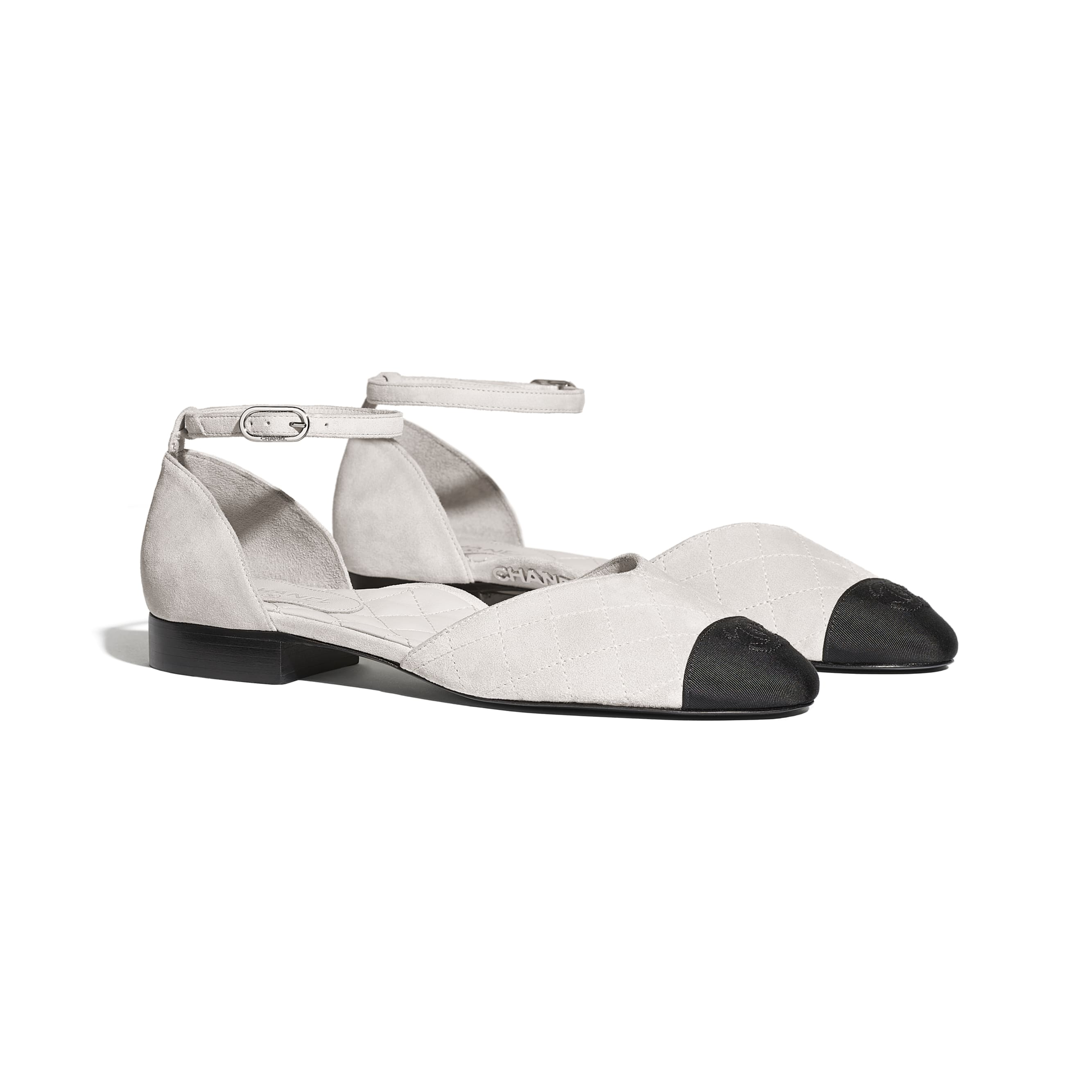Mary Janes  - Light Grey & Black - Suede Calfskin & Grosgrain - Alternative view - see standard sized version
