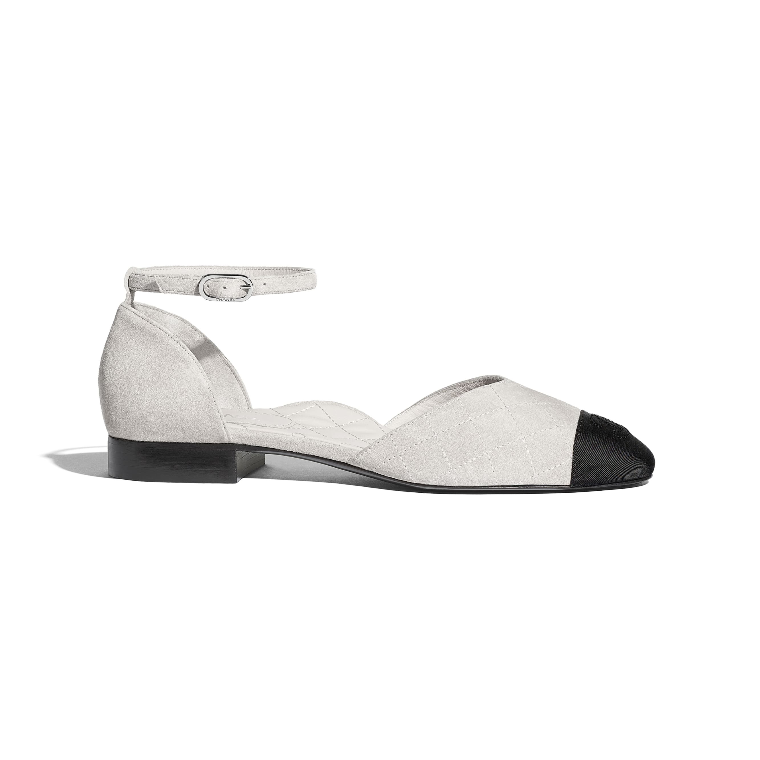 Mary Janes  - Light Grey & Black - Suede Calfskin & Grosgrain - Default view - see standard sized version