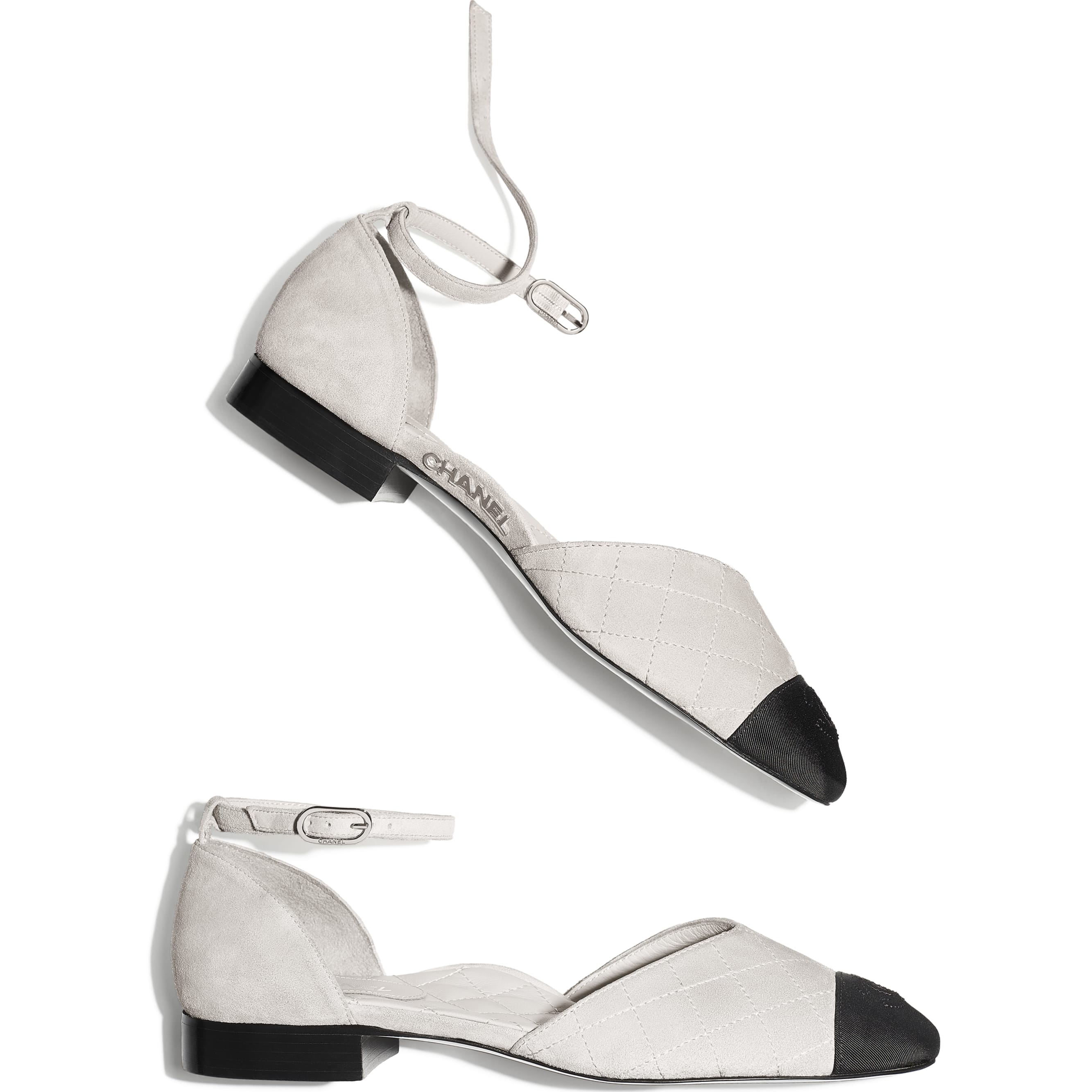 Mary Janes  - Light Grey & Black - Suede Calfskin & Grosgrain - Extra view - see standard sized version