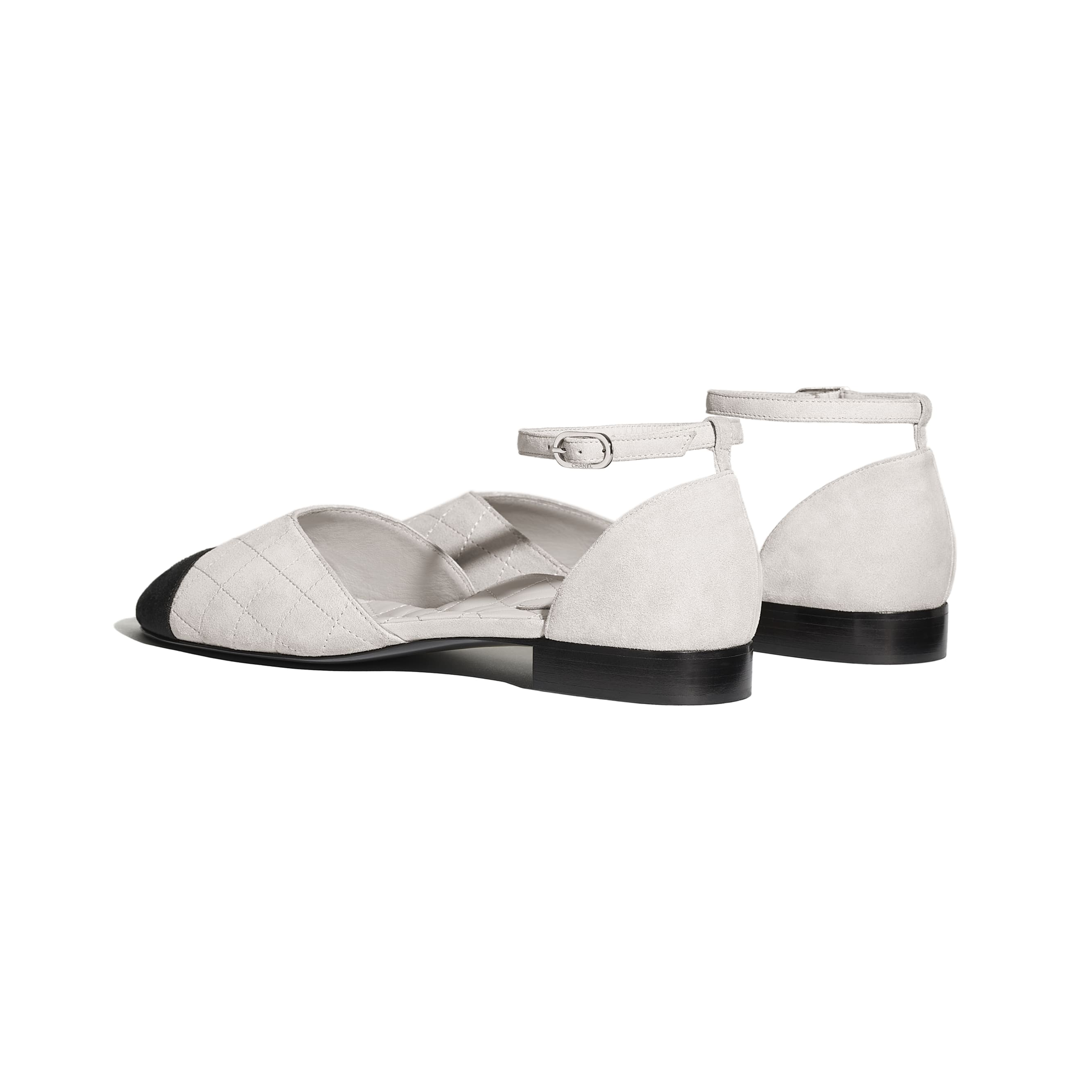 Mary Janes - Light Gray & Black - Suede Calfskin & Grosgrain - CHANEL - Other view - see standard sized version