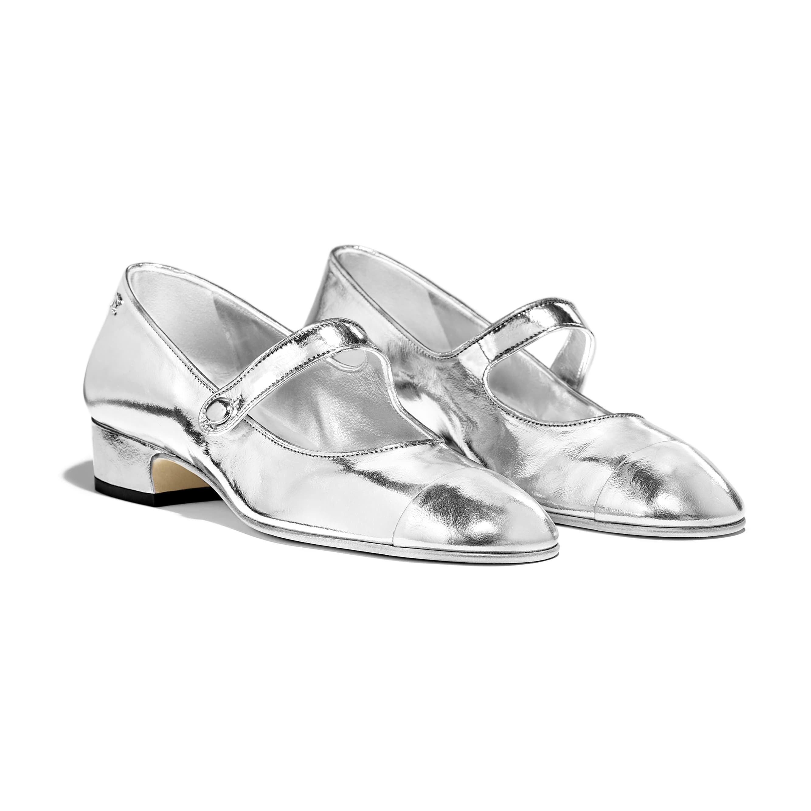 Mary Janes - Silver - Laminated Goatskin - Alternative view - see standard sized version