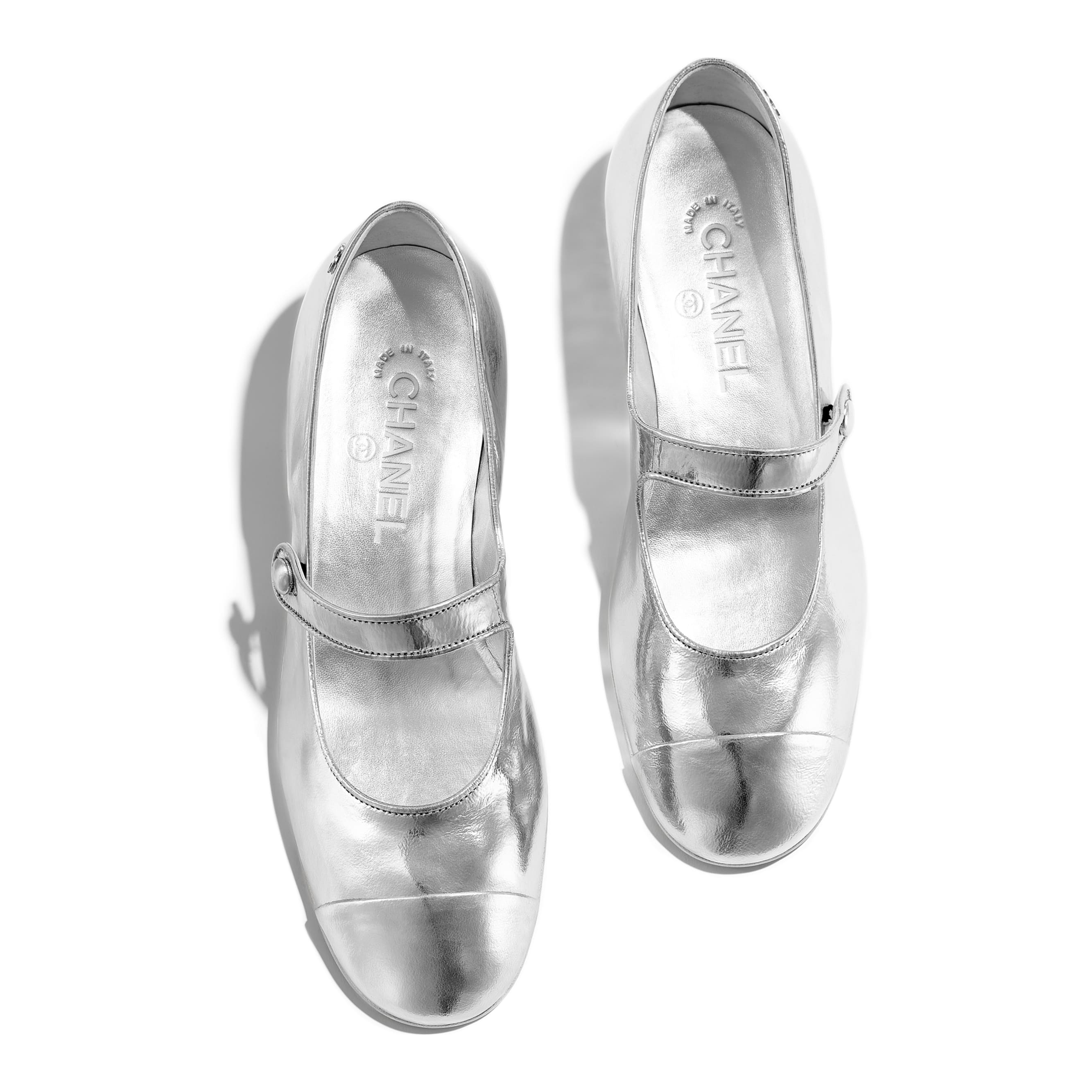 Mary Janes - Silver - Laminated Goatskin - Other view - see standard sized version