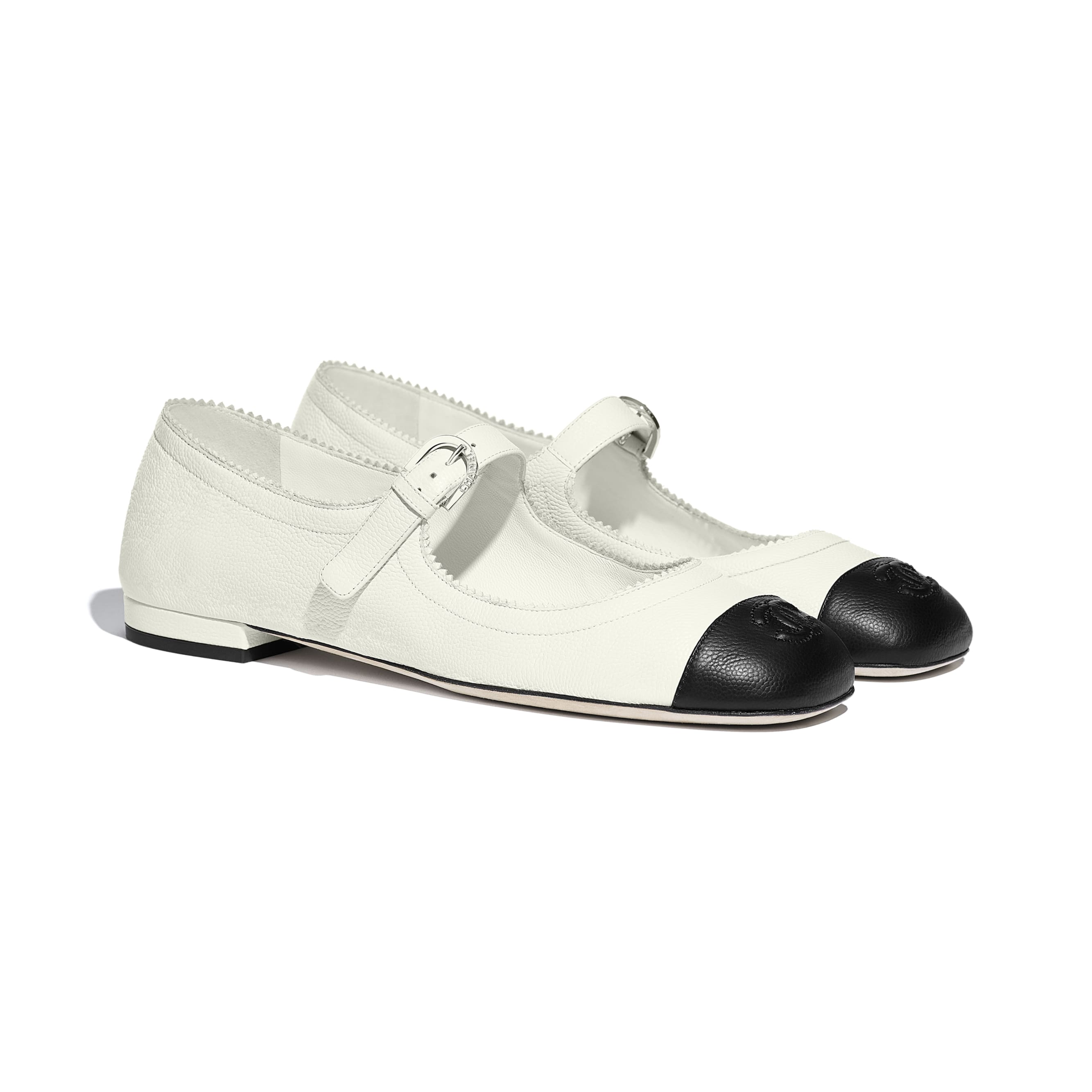 Mary Janes  - White & Black - Calfskin - CHANEL - Alternative view - see standard sized version